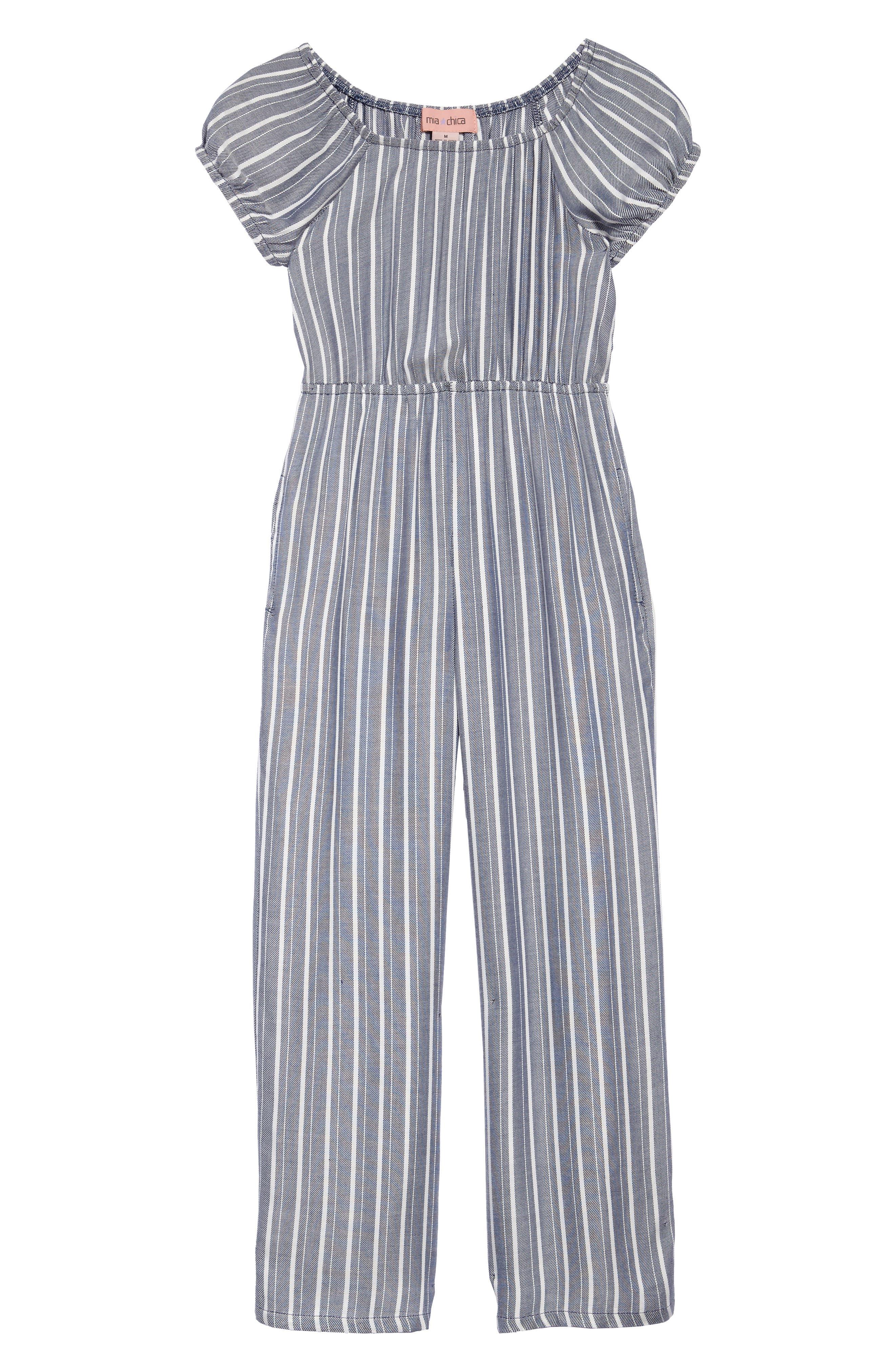 Stripe Off the Shoulder Jumpsuit,                         Main,                         color,