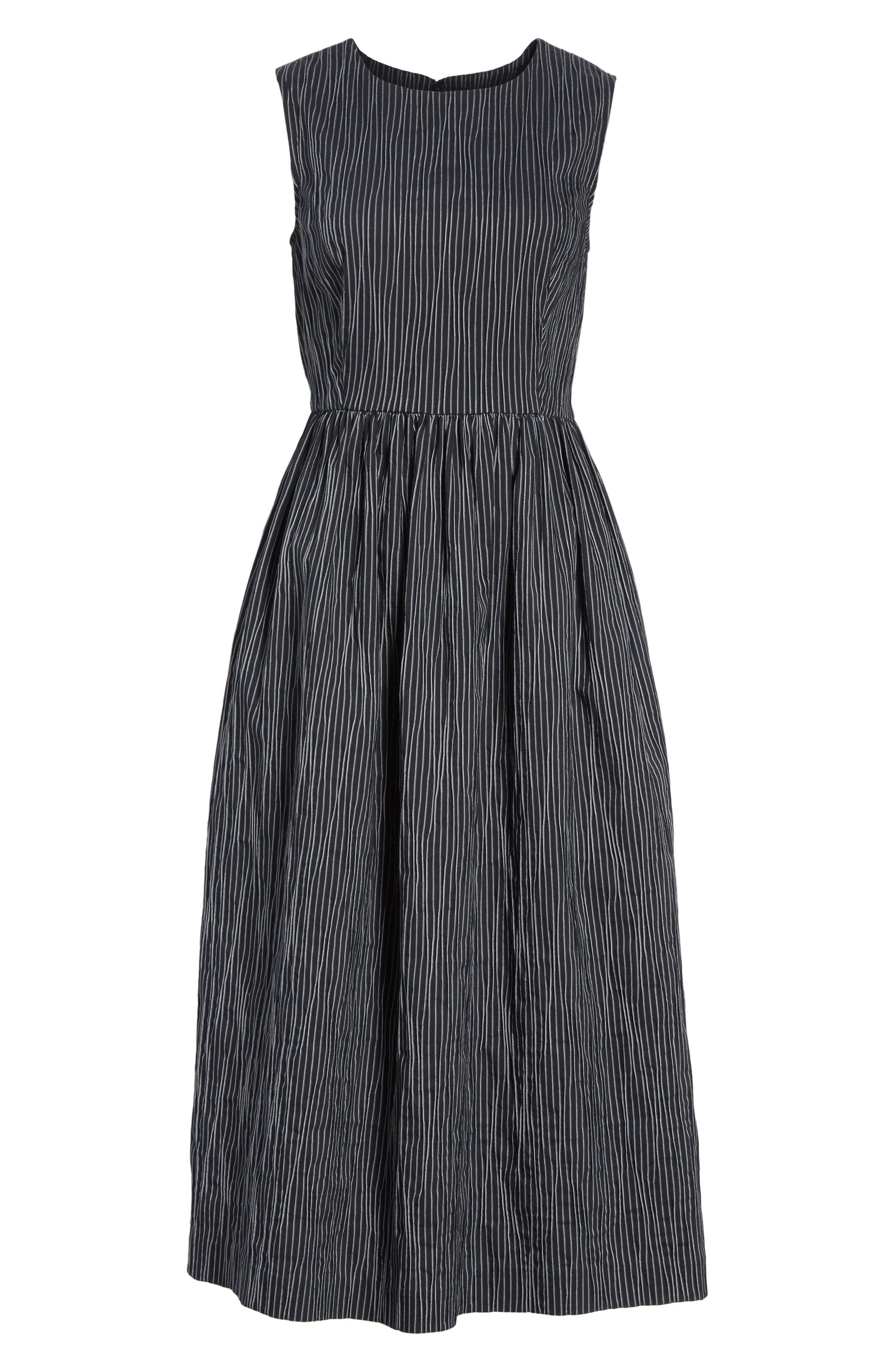 Stripe Crinkle Cotton Blend Midi Dress,                             Alternate thumbnail 6, color,                             010