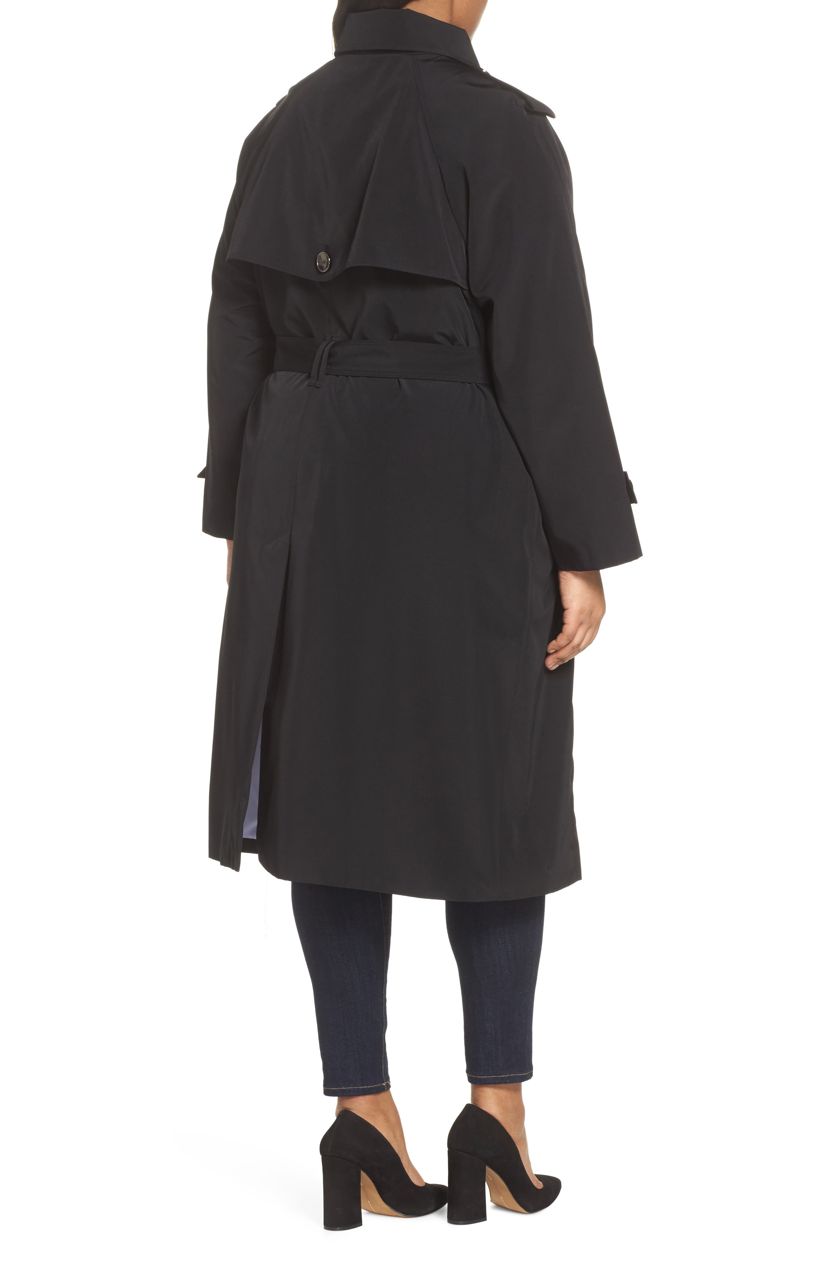 Water Resistant Hooded Trench Coat,                             Alternate thumbnail 2, color,                             001