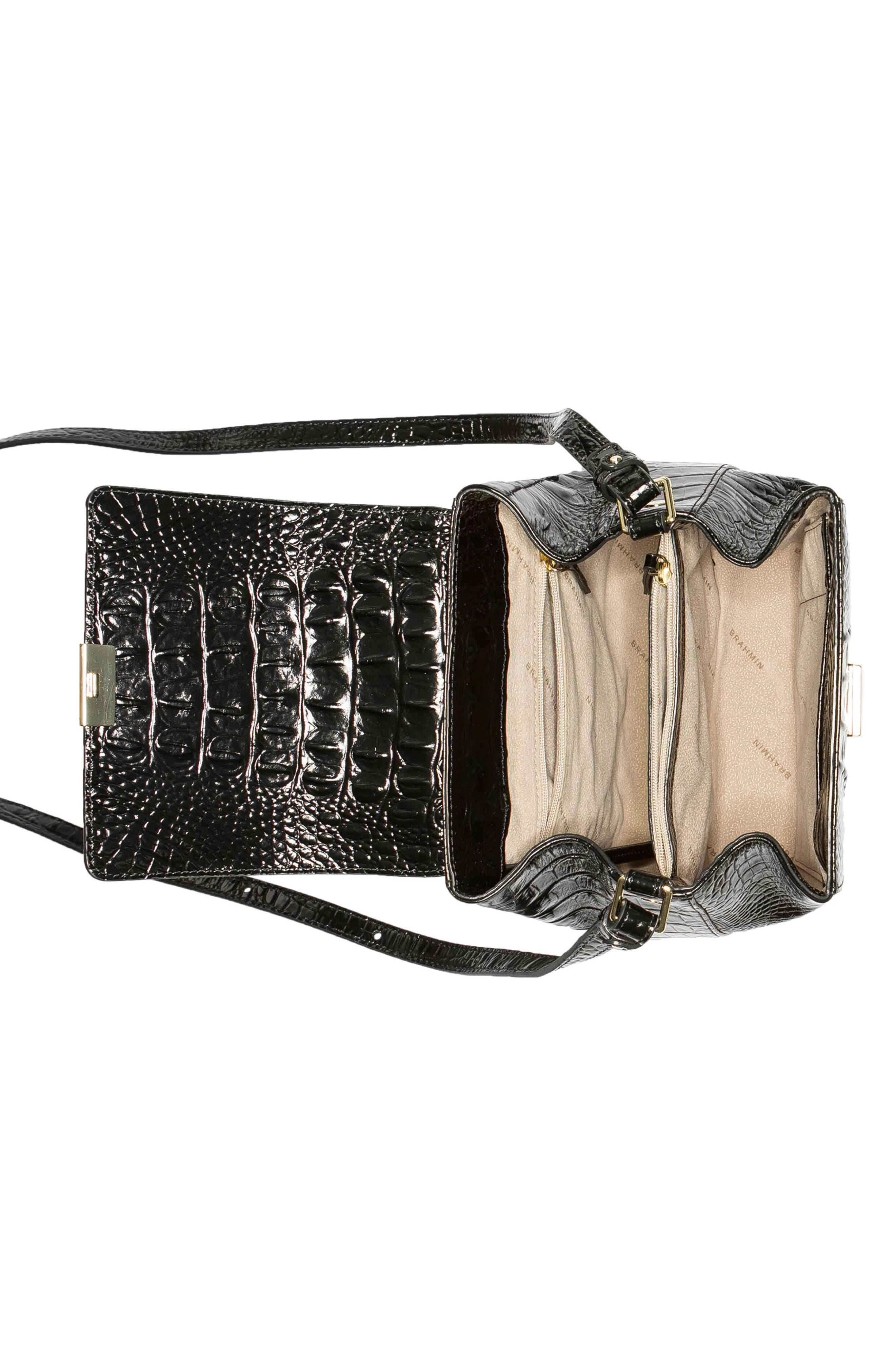 Margo Croc Embossed Leather Crossbody Bag,                             Alternate thumbnail 3, color,                             BLACK