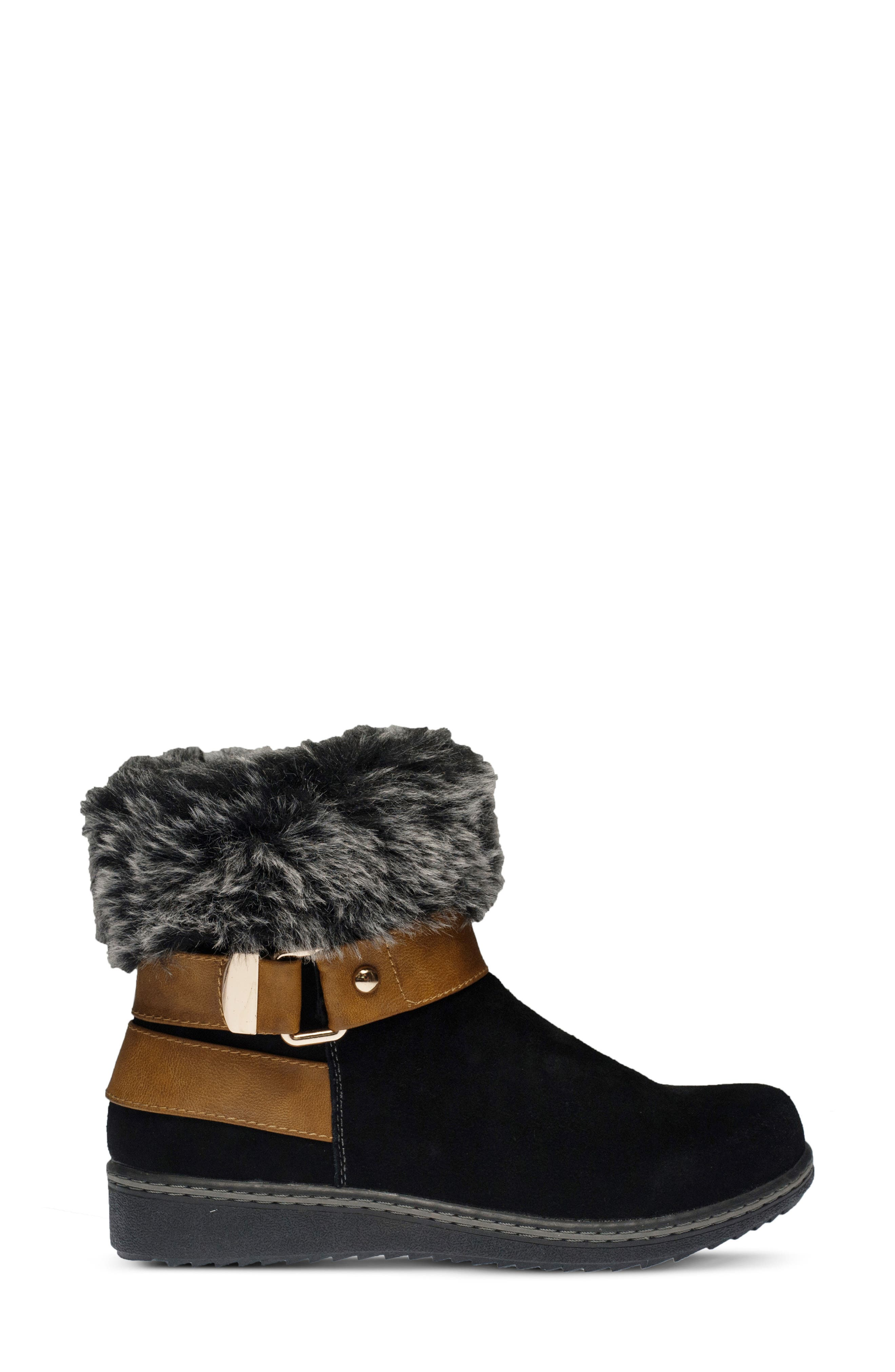 Popsicle Water Resistant Faux Fur Bootie,                             Alternate thumbnail 2, color,                             BLACK SUEDE