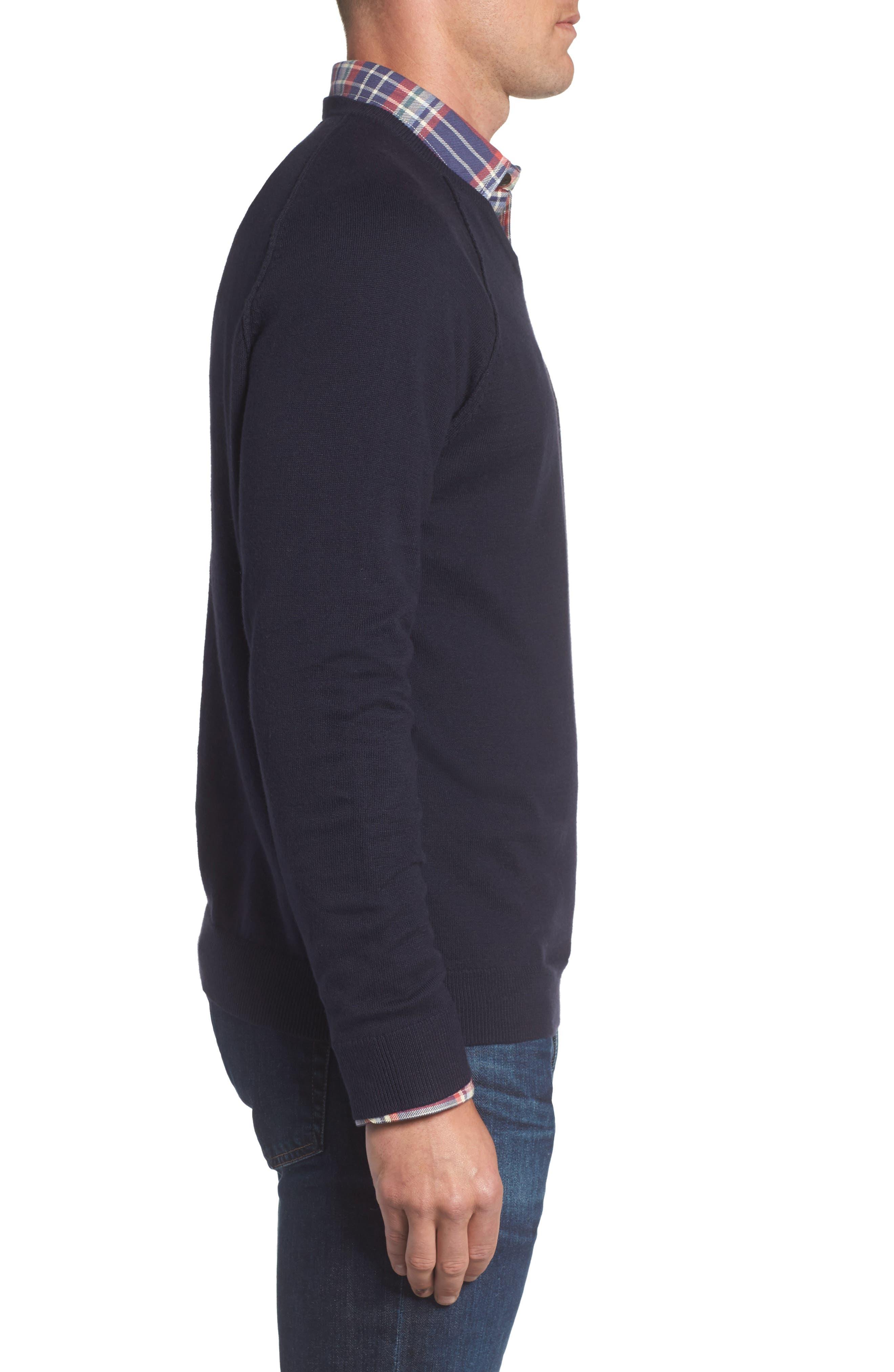 Saddle Shoulder Cotton & Cashmere V-Neck Sweater,                             Alternate thumbnail 23, color,