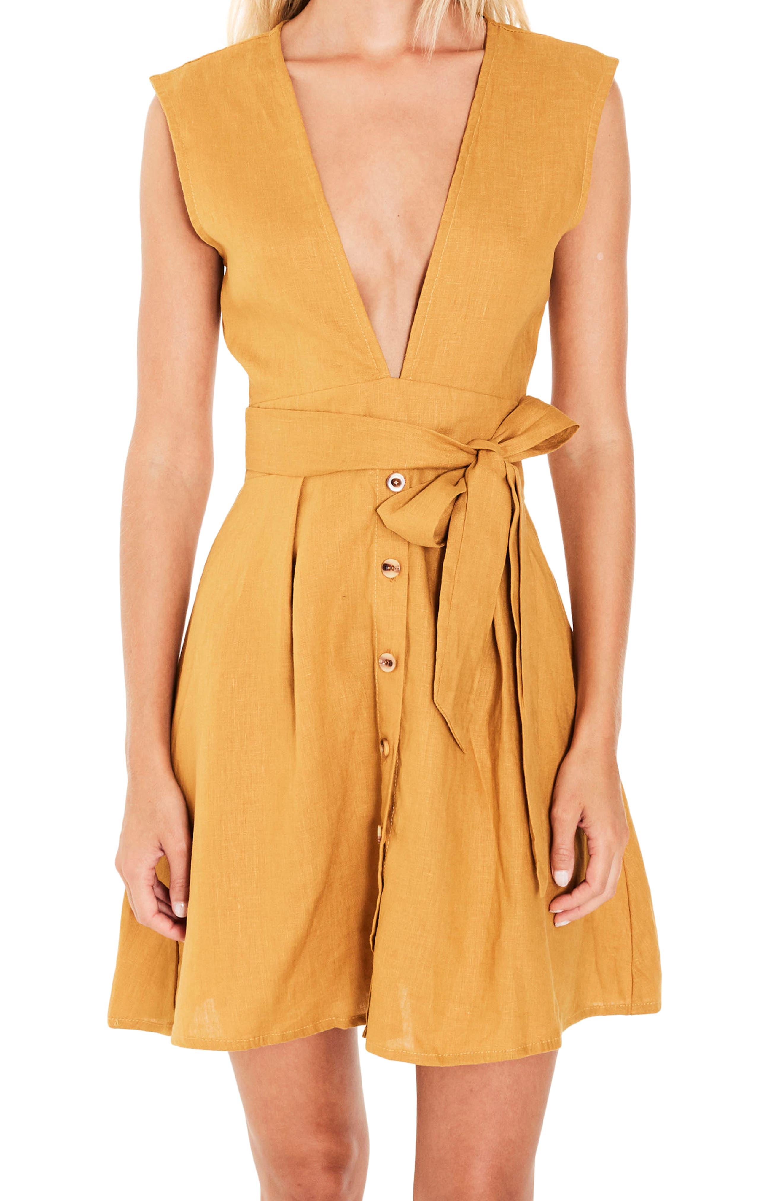 Bari Tie Waist Linen Dress,                             Alternate thumbnail 4, color,                             PLAIN MARIGOLD