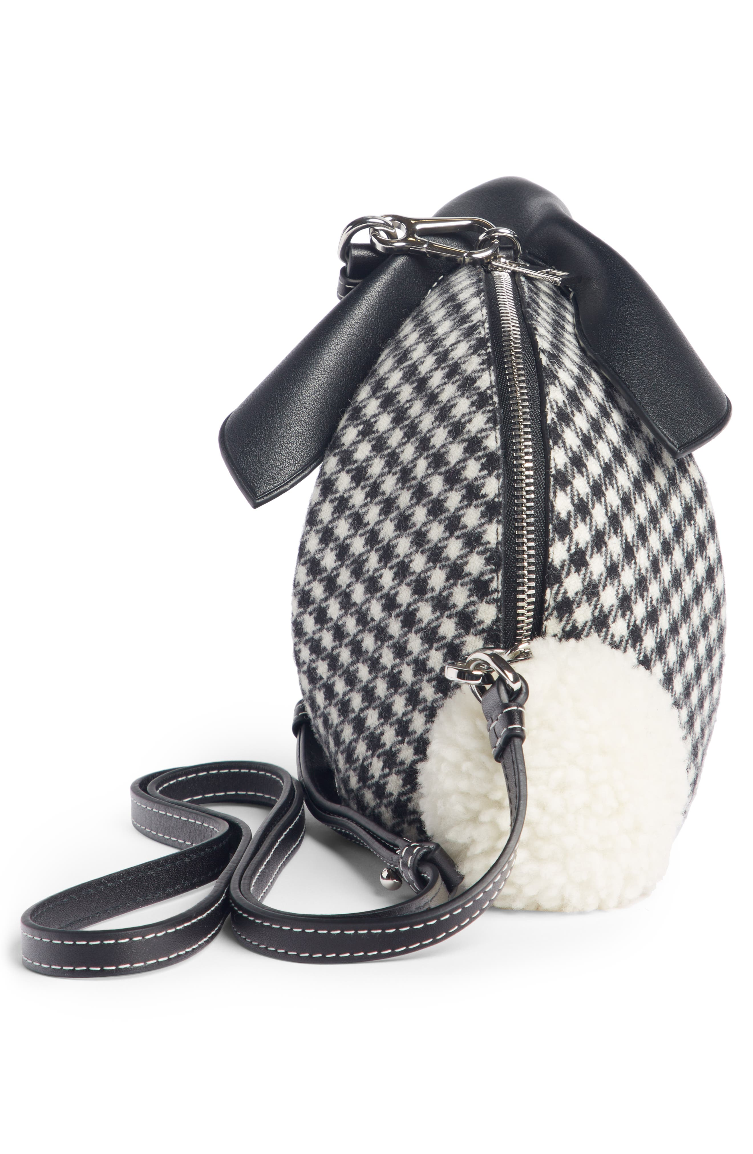 Mini Bunny Tweed & Leather Crossbody Bag with Genuine Shearling Trim,                             Alternate thumbnail 3, color,                             003