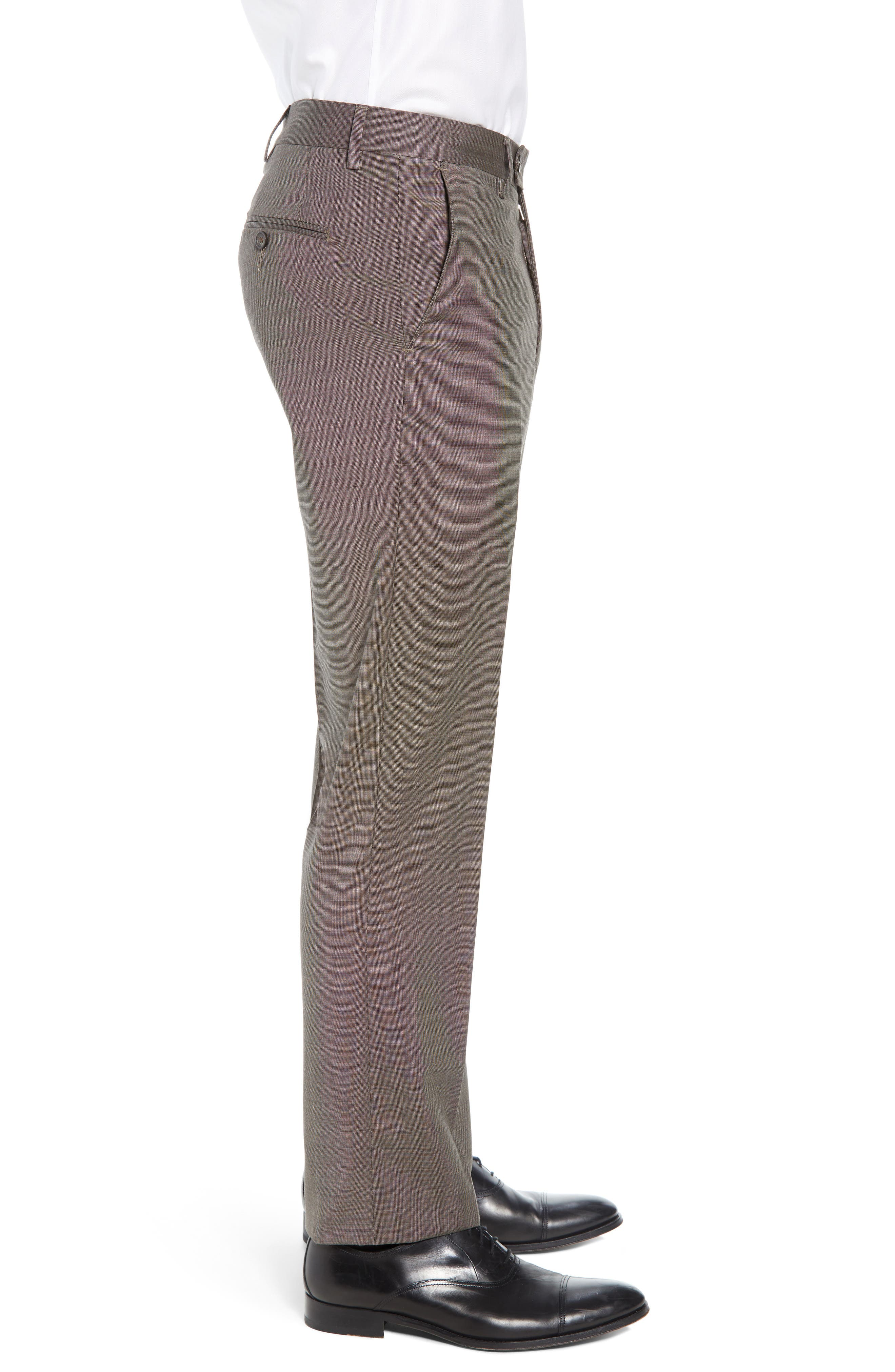 Manufacturing Flat Front Wool Trousers,                             Alternate thumbnail 3, color,                             BROWN