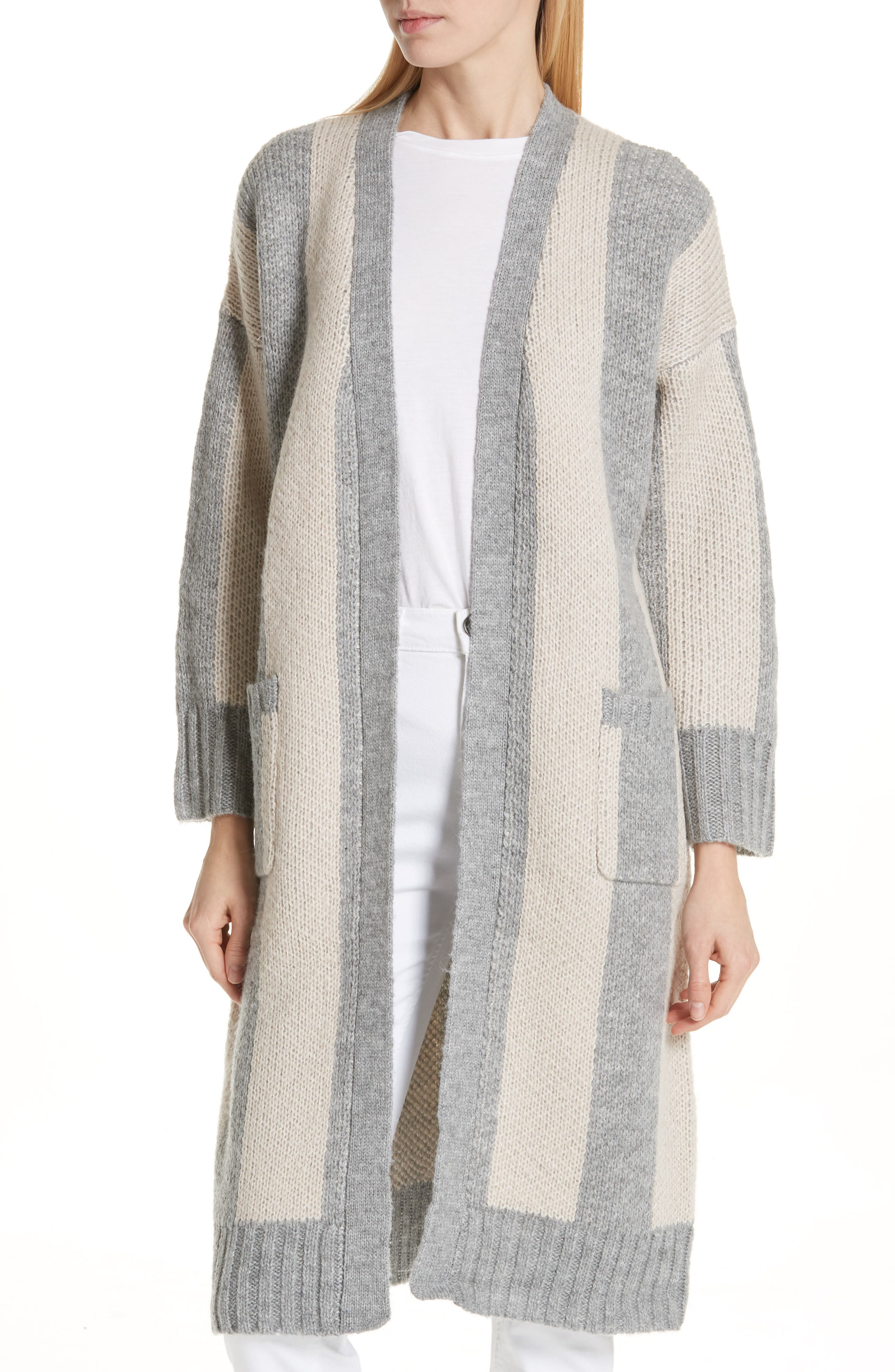 The Duster Sweater,                             Main thumbnail 1, color,                             HEATHER GREY STRIPE