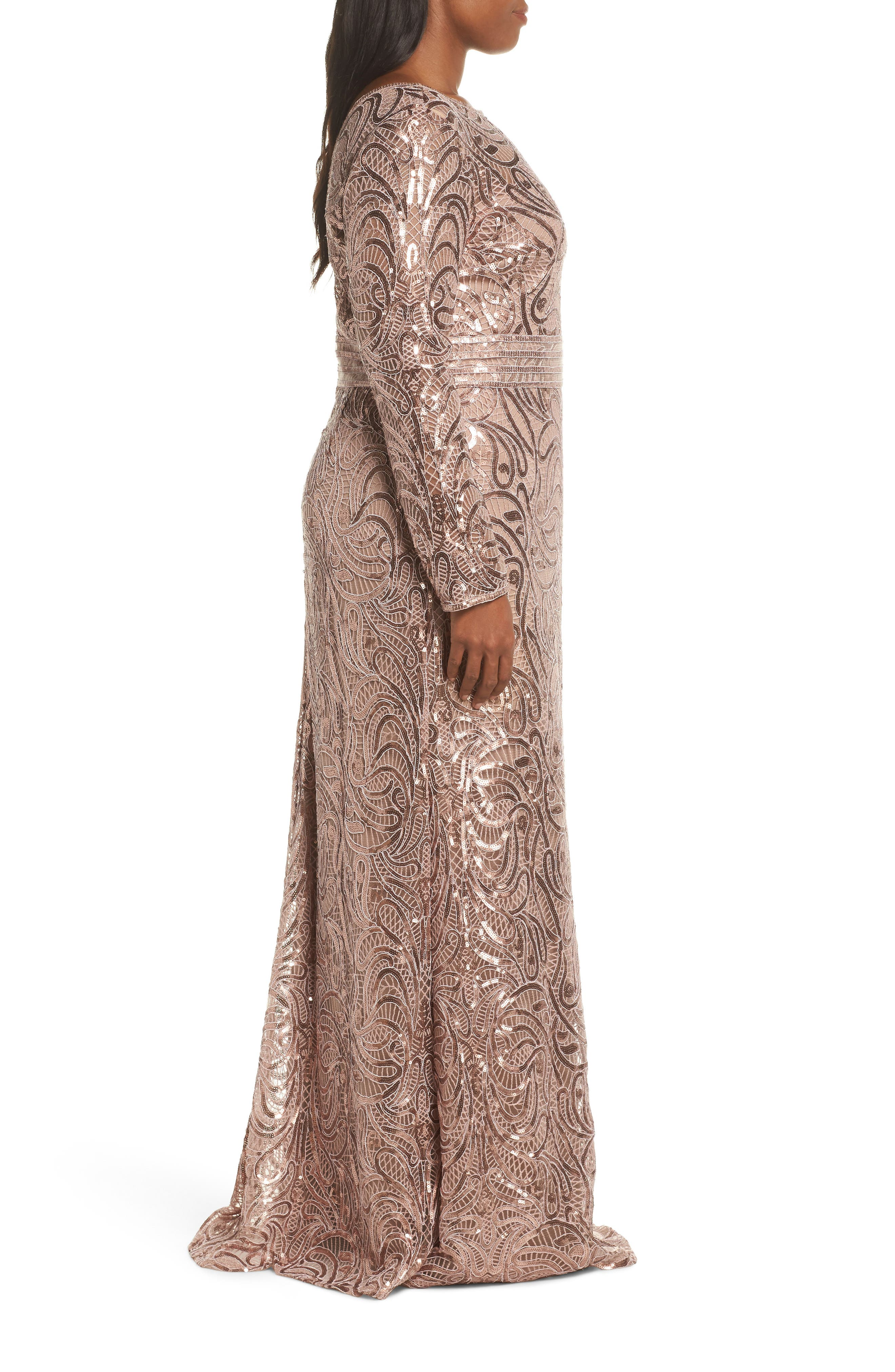 Sequin Crochet Mermaid Gown,                             Alternate thumbnail 10, color,                             DUSTY ROSE