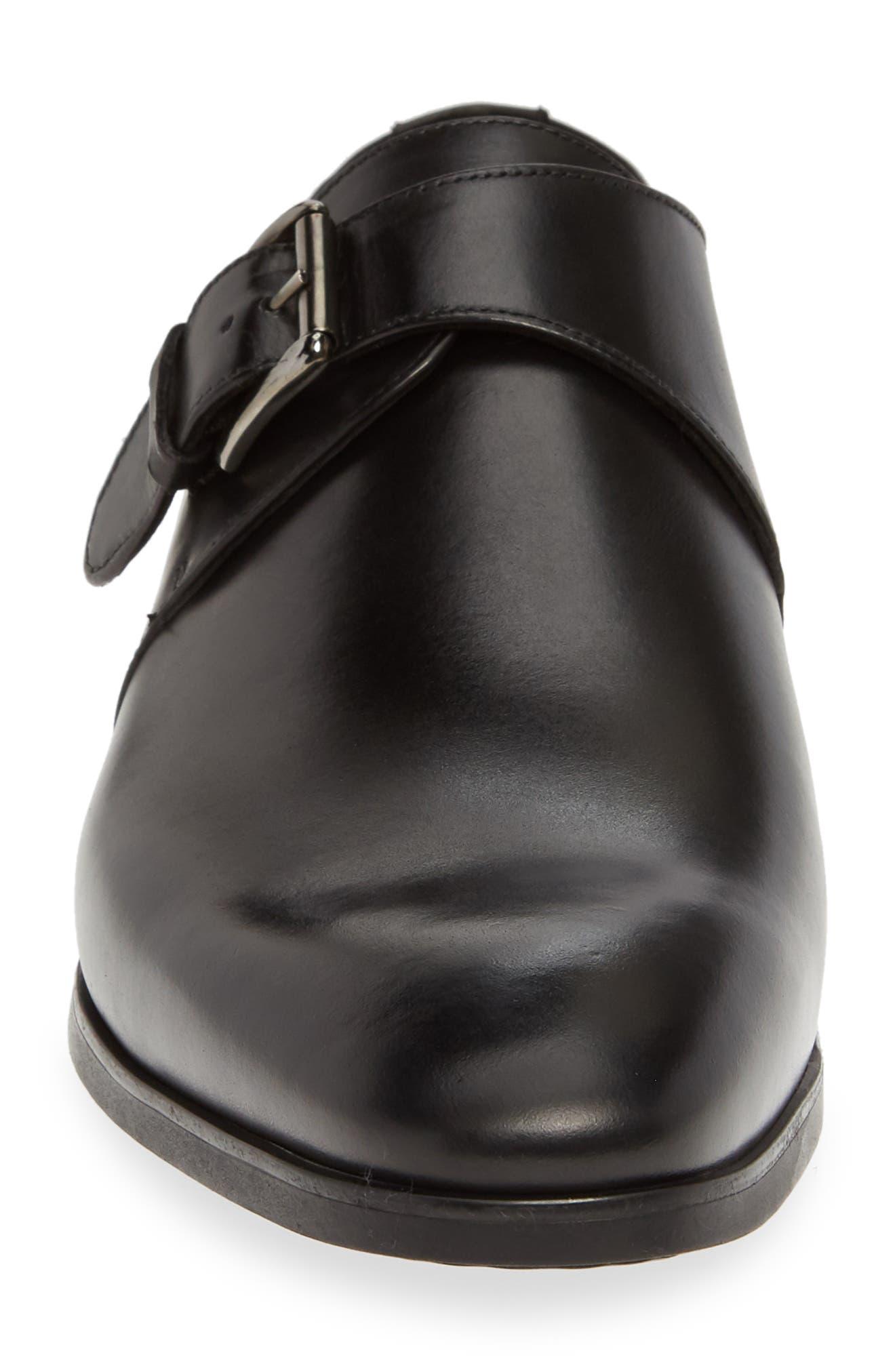Scarpa Monk Strap Shoe,                             Alternate thumbnail 4, color,                             BLACK LEATHER