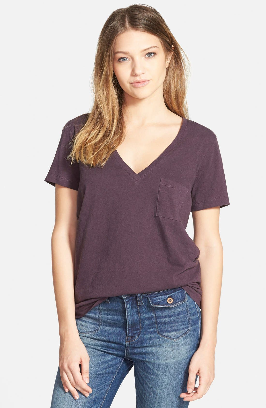 Whisper Cotton V-Neck Pocket Tee,                             Main thumbnail 11, color,