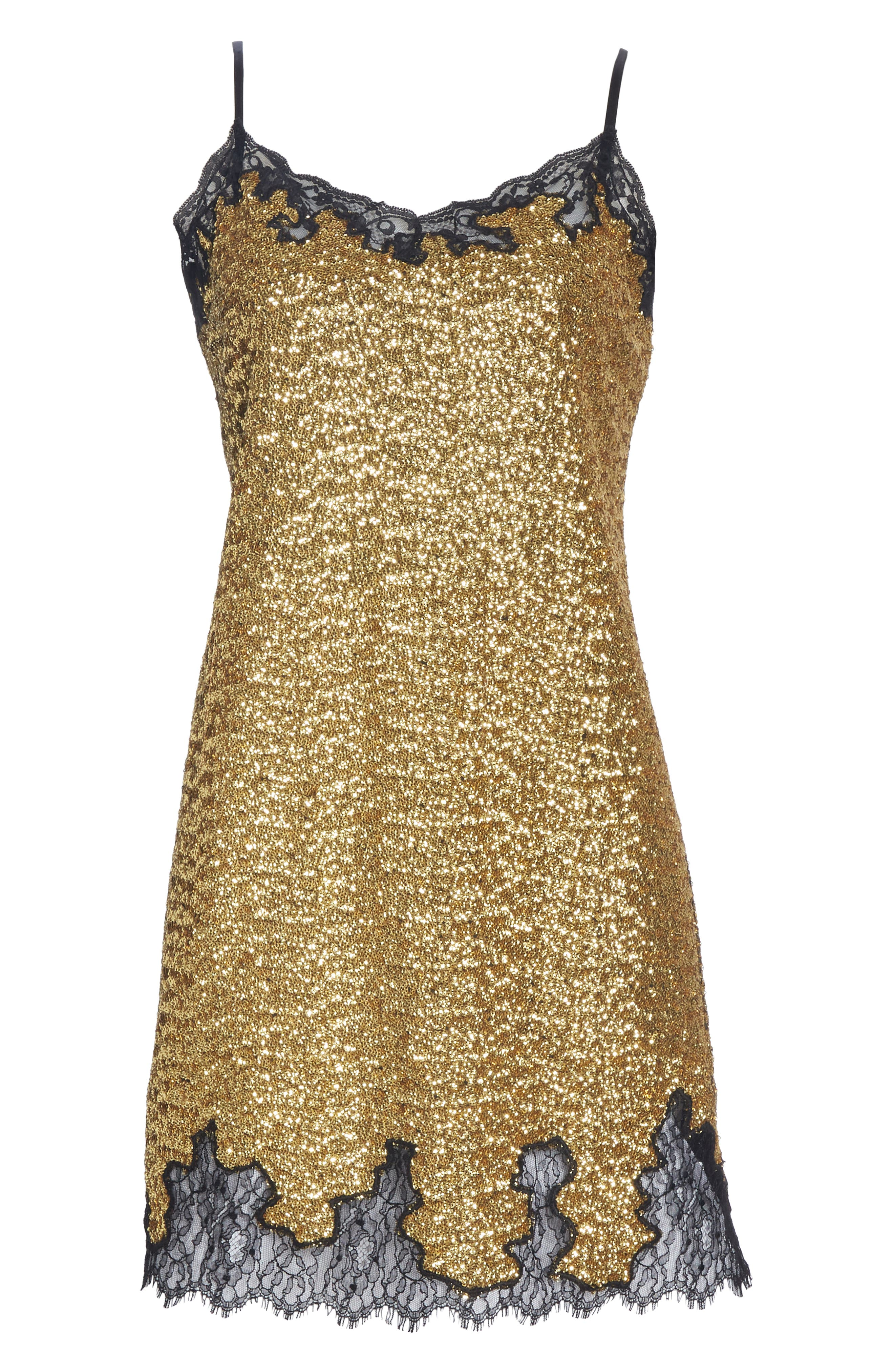 Sequin Lace Camisole Dress,                             Alternate thumbnail 6, color,                             YELLOW