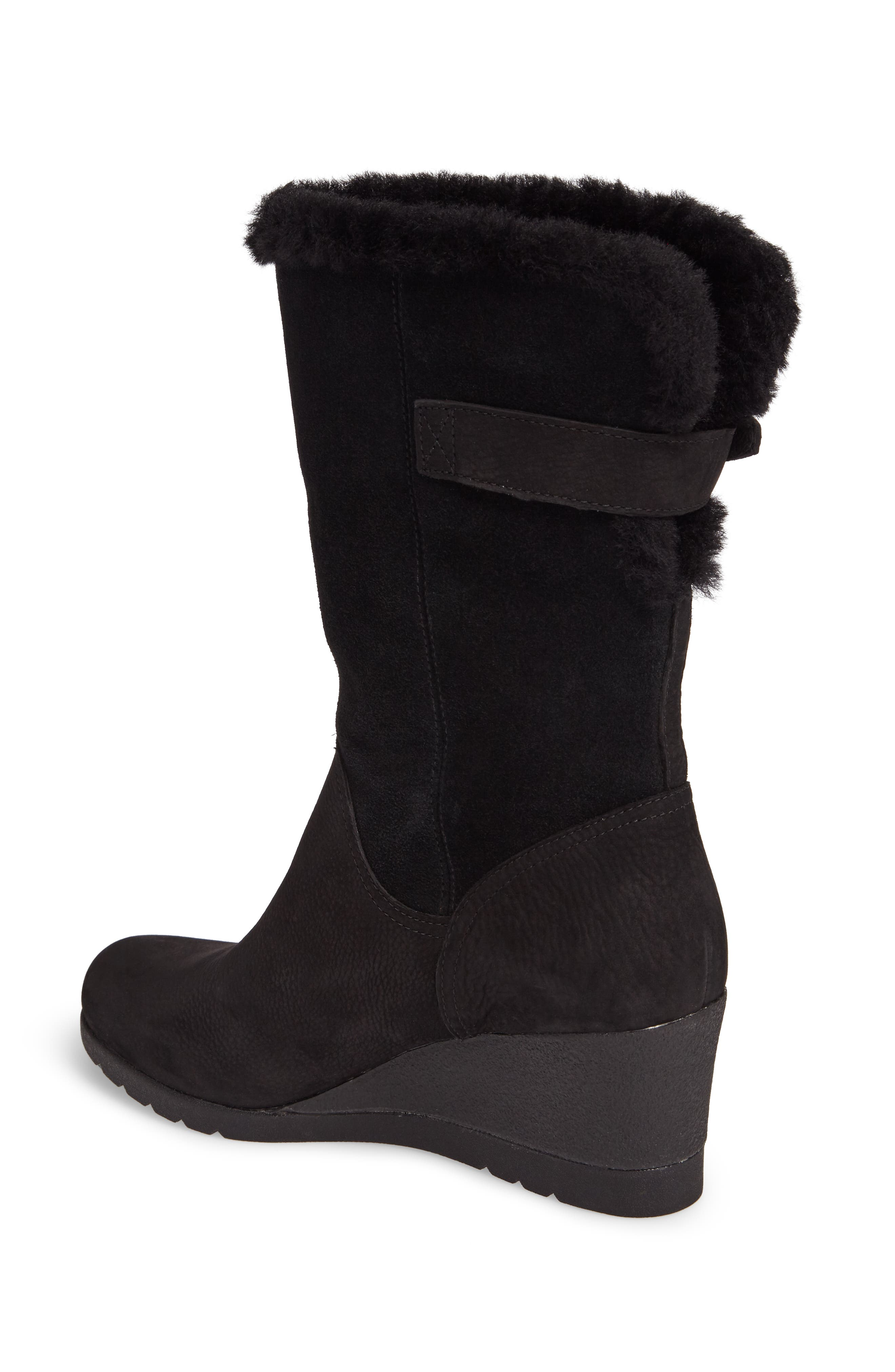 UGG<SUP>®</SUP>,                             Edelina Waterproof Wedge Boot,                             Alternate thumbnail 2, color,                             001