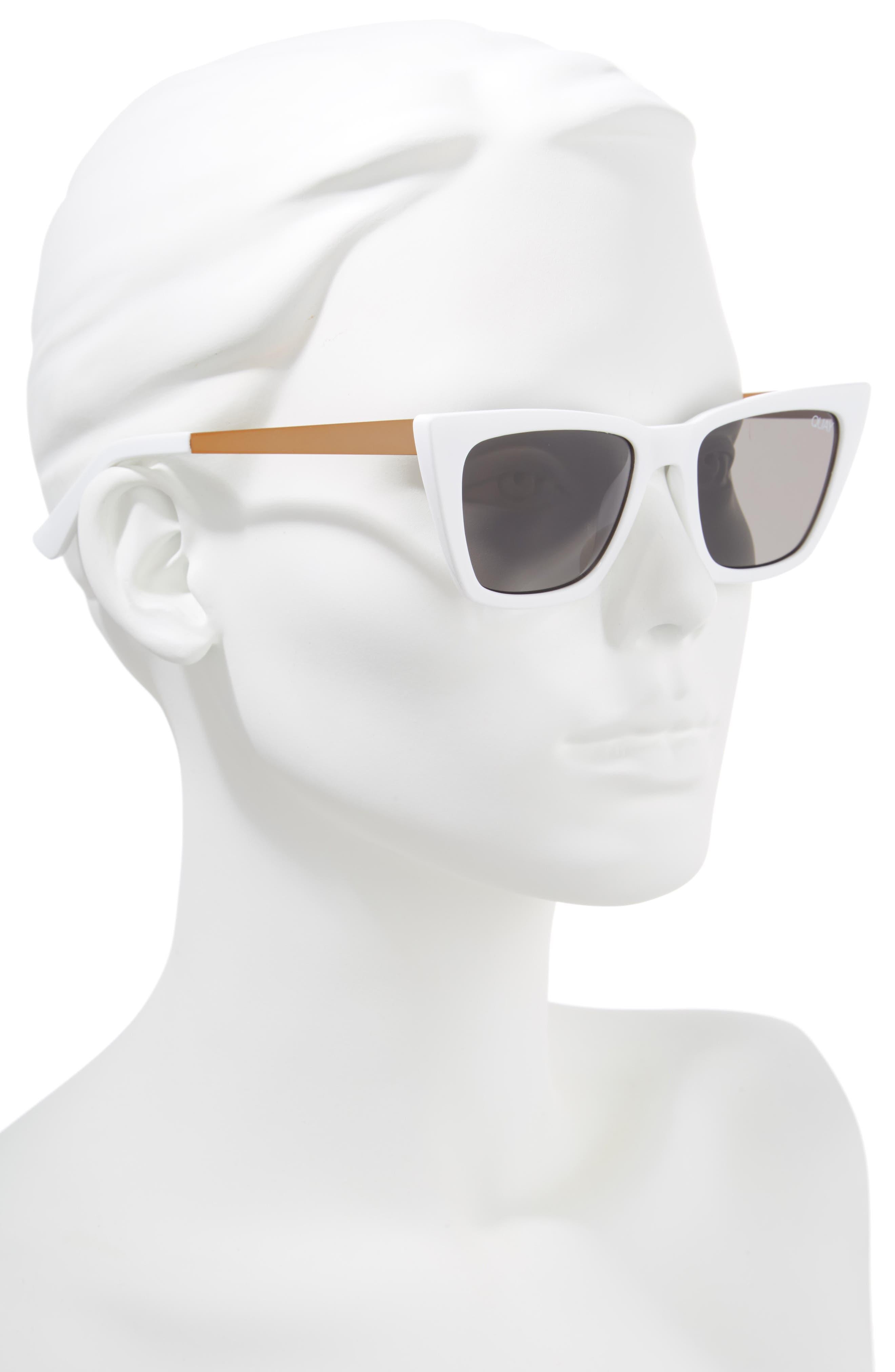 x Desi Perkins Don't @ Me 48mm Cat Eye Sunglasses,                             Alternate thumbnail 2, color,                             WHITE/ SMOKE
