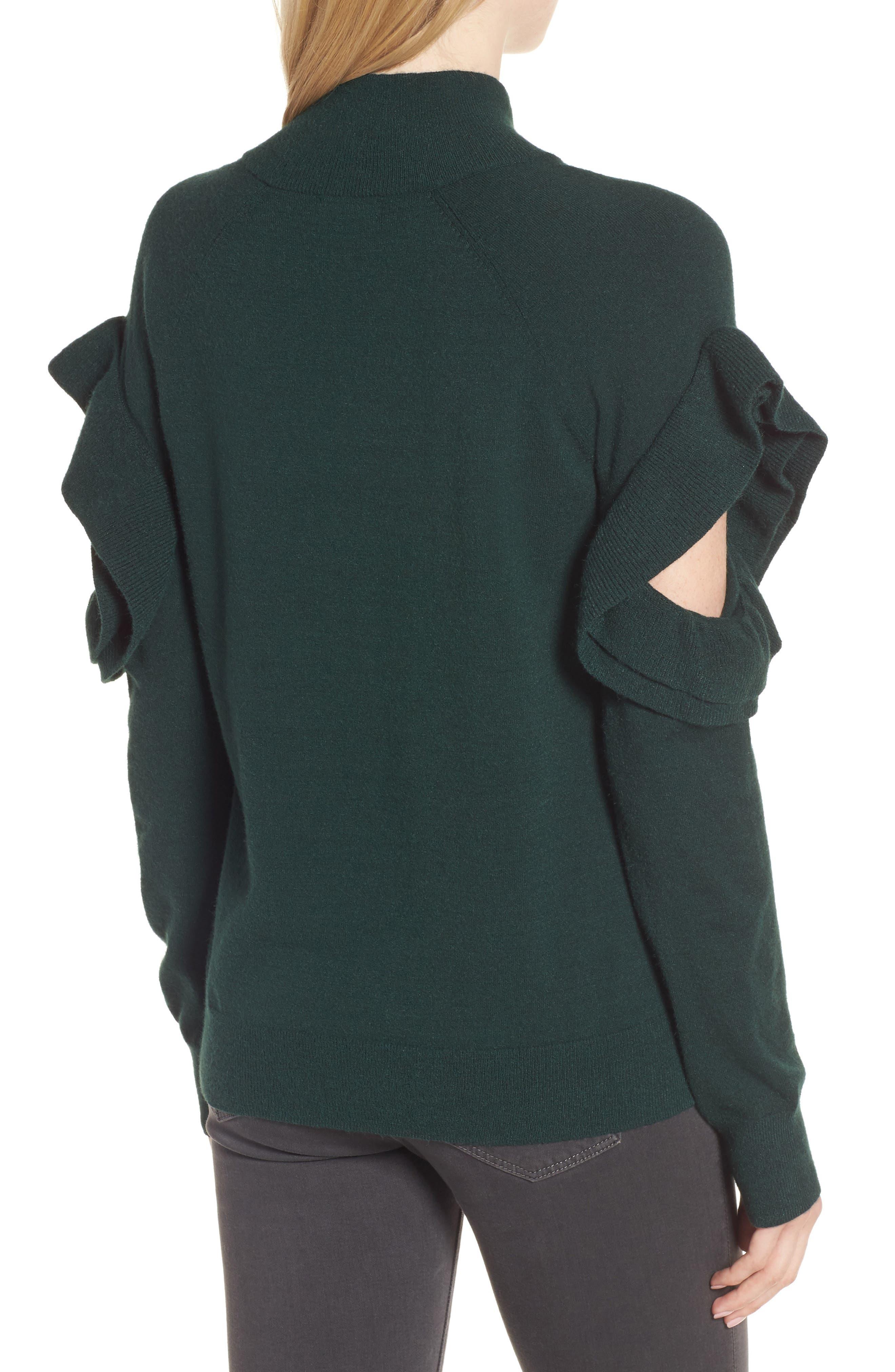 Ruffle Sleeve Sweater,                             Alternate thumbnail 6, color,