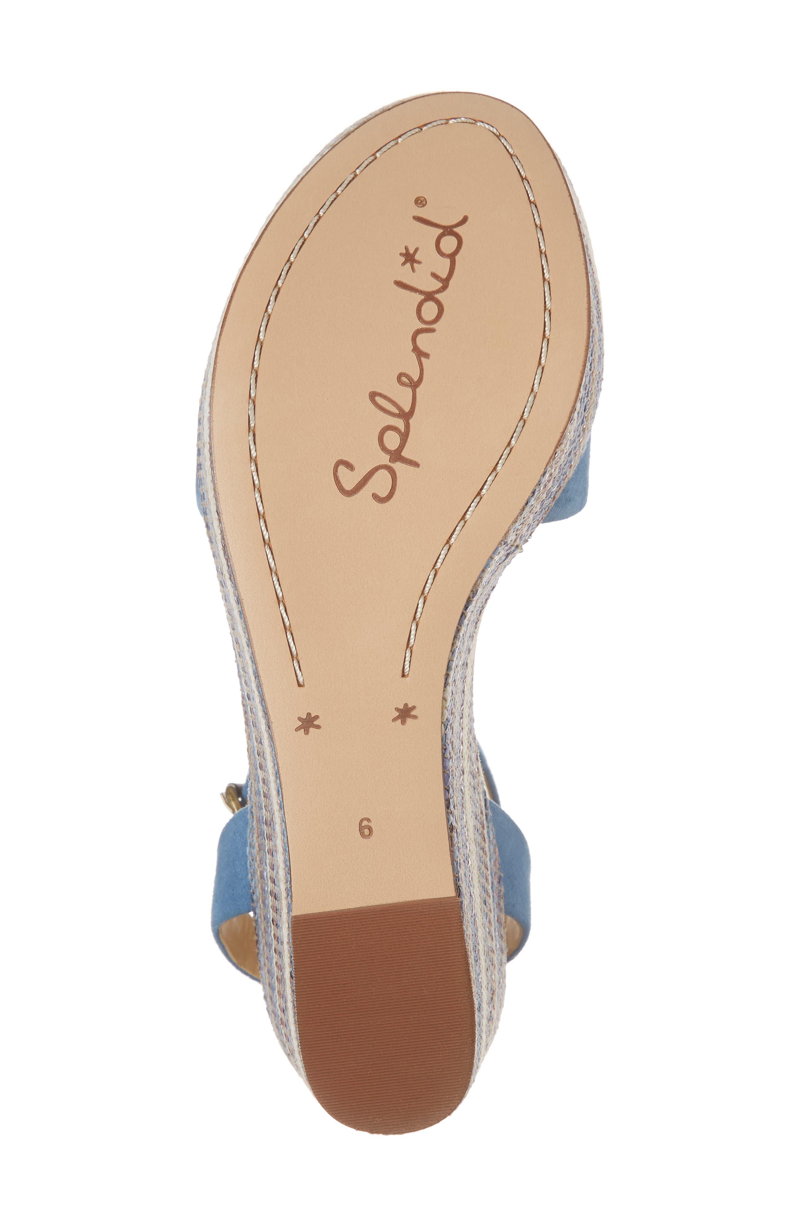 Felix Platform Wedge Sandal,                             Alternate thumbnail 6, color,                             BLUE HORIZON SUEDE