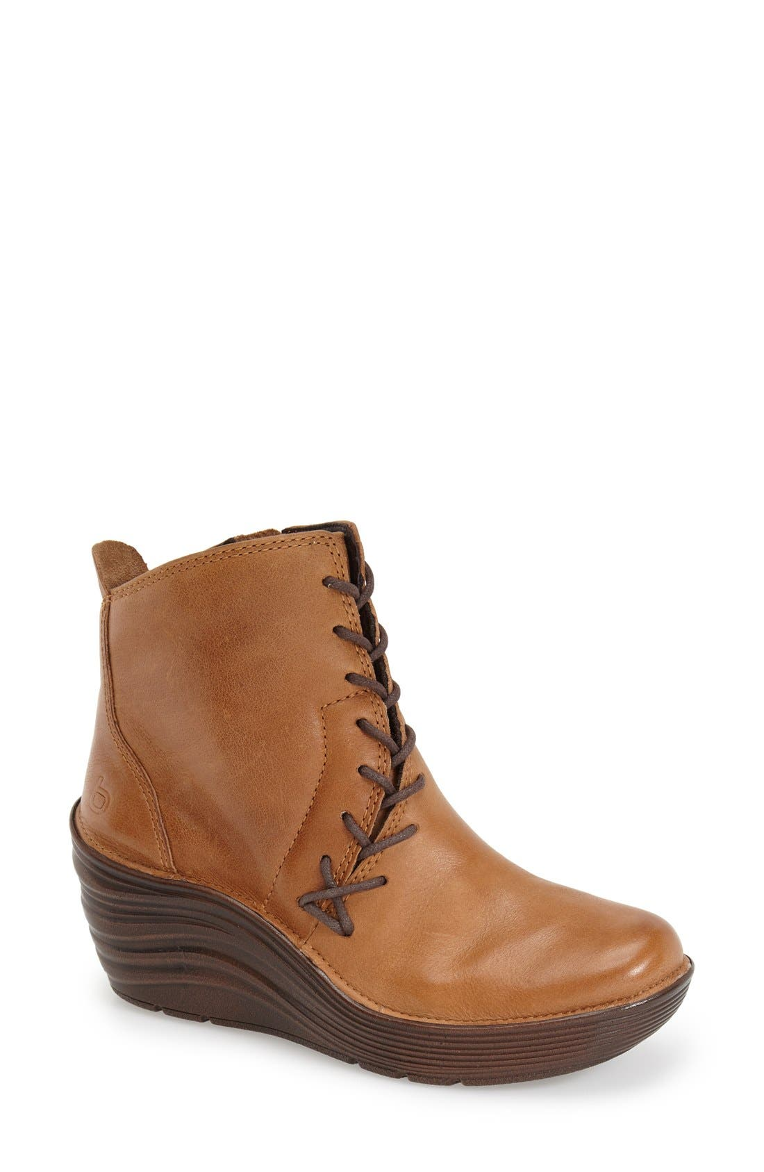 'Corset' Bootie,                             Main thumbnail 1, color,                             CORK OILED LEATHER