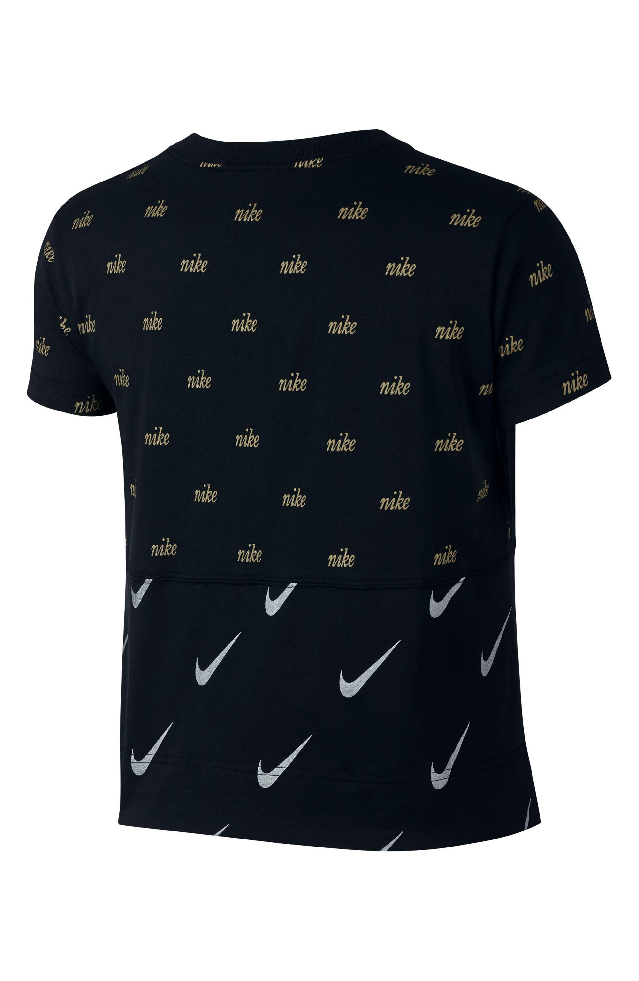 Sportswear Metallic Logo Tee,                             Alternate thumbnail 2, color,                             BLACK