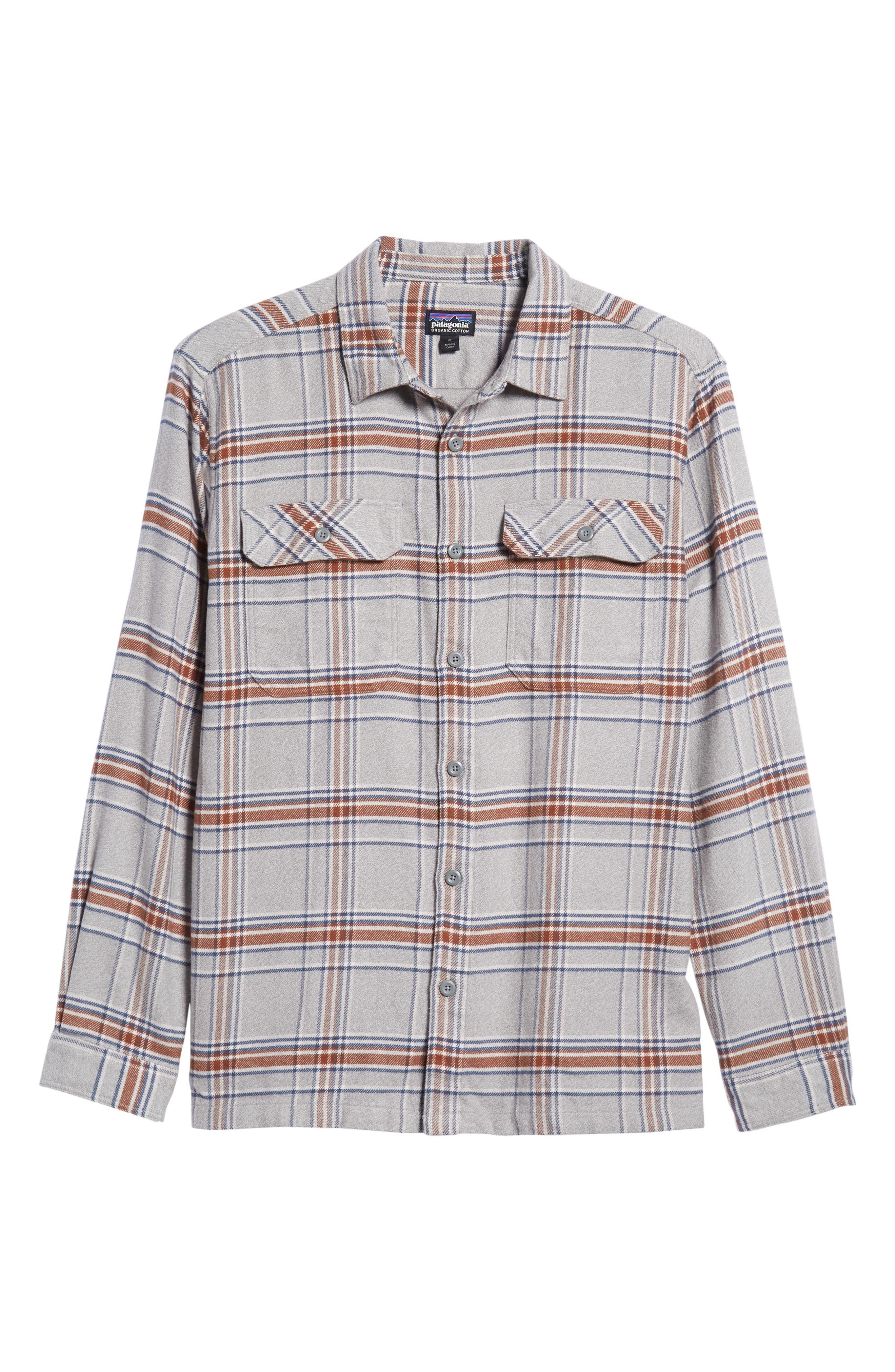 'Fjord' Regular Fit Organic Cotton Flannel Shirt,                             Alternate thumbnail 5, color,                             ACTIVIST FEATHER GREY