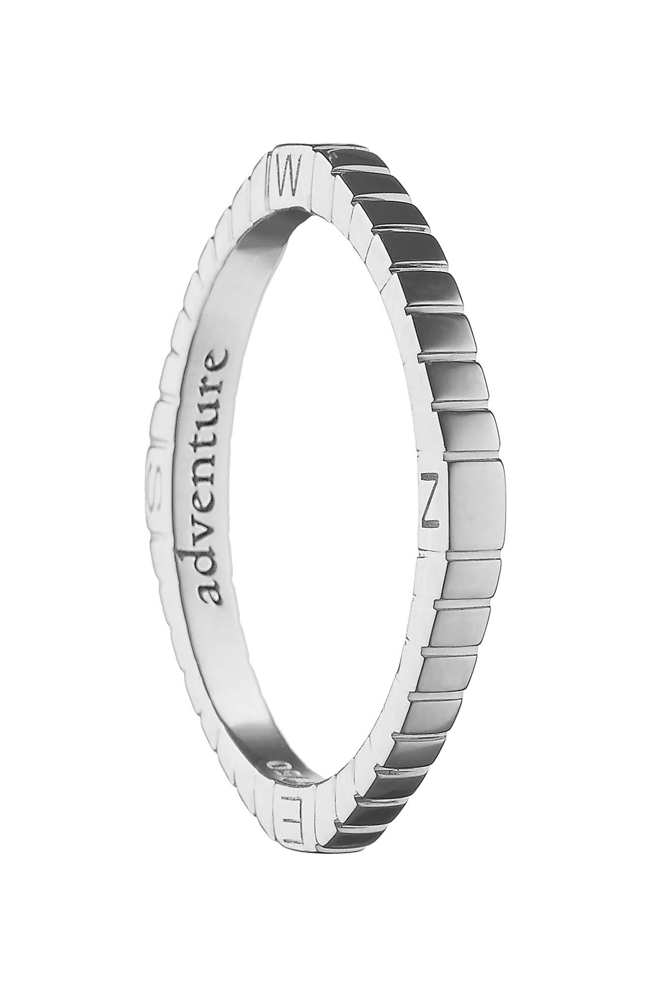 Adventure Compass Poesy Ring Charm,                             Main thumbnail 1, color,                             STERLING SILVER