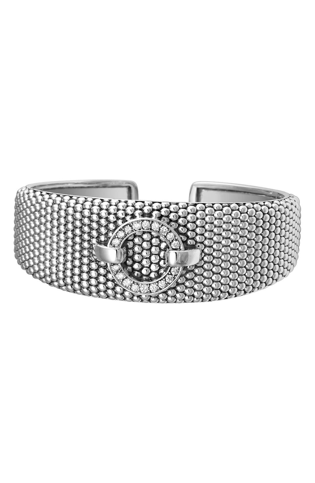 'Enso - Circle Game' Diamond Caviar Cuff,                             Main thumbnail 1, color,                             040