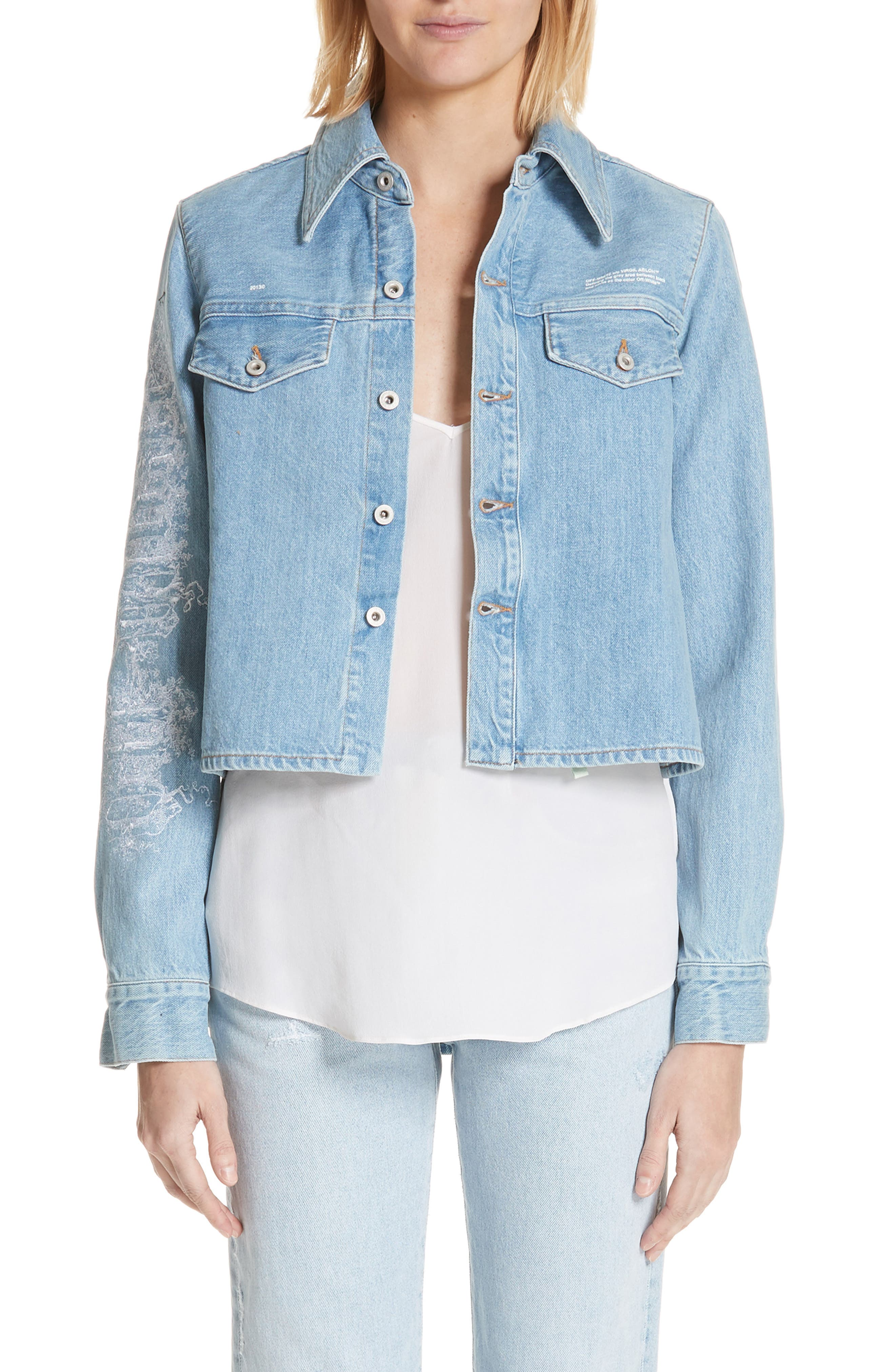 Crop Front Denim Shirt,                             Main thumbnail 1, color,                             400