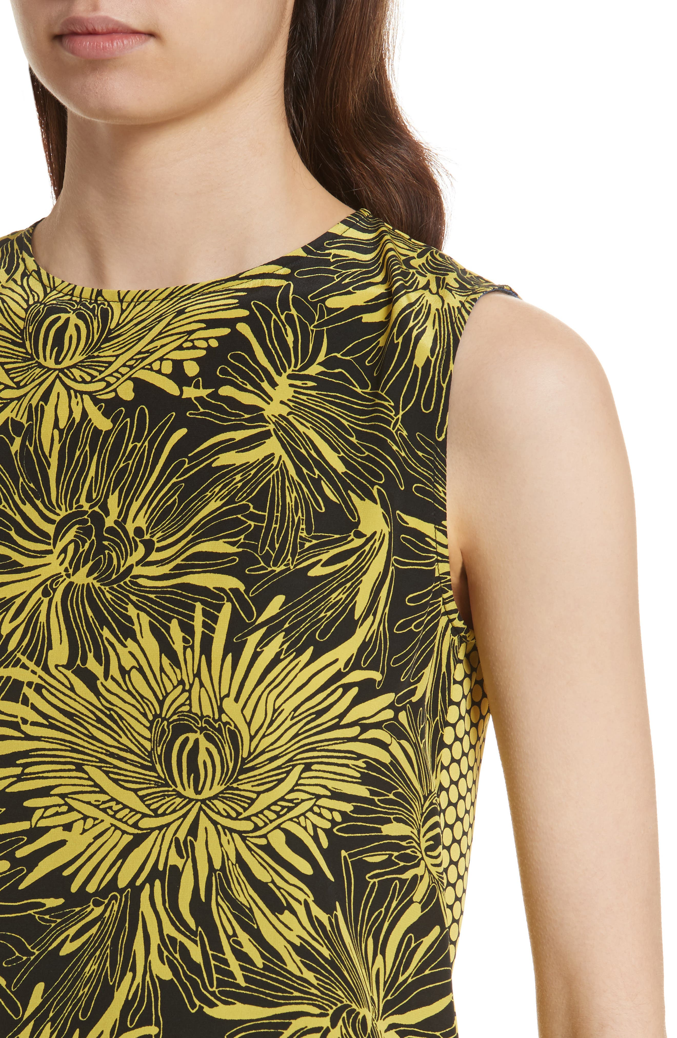 Diane von Furstenberg Floral Print Silk Shell,                             Alternate thumbnail 4, color,                             WORSLEY CITRON/ ROWE DOT
