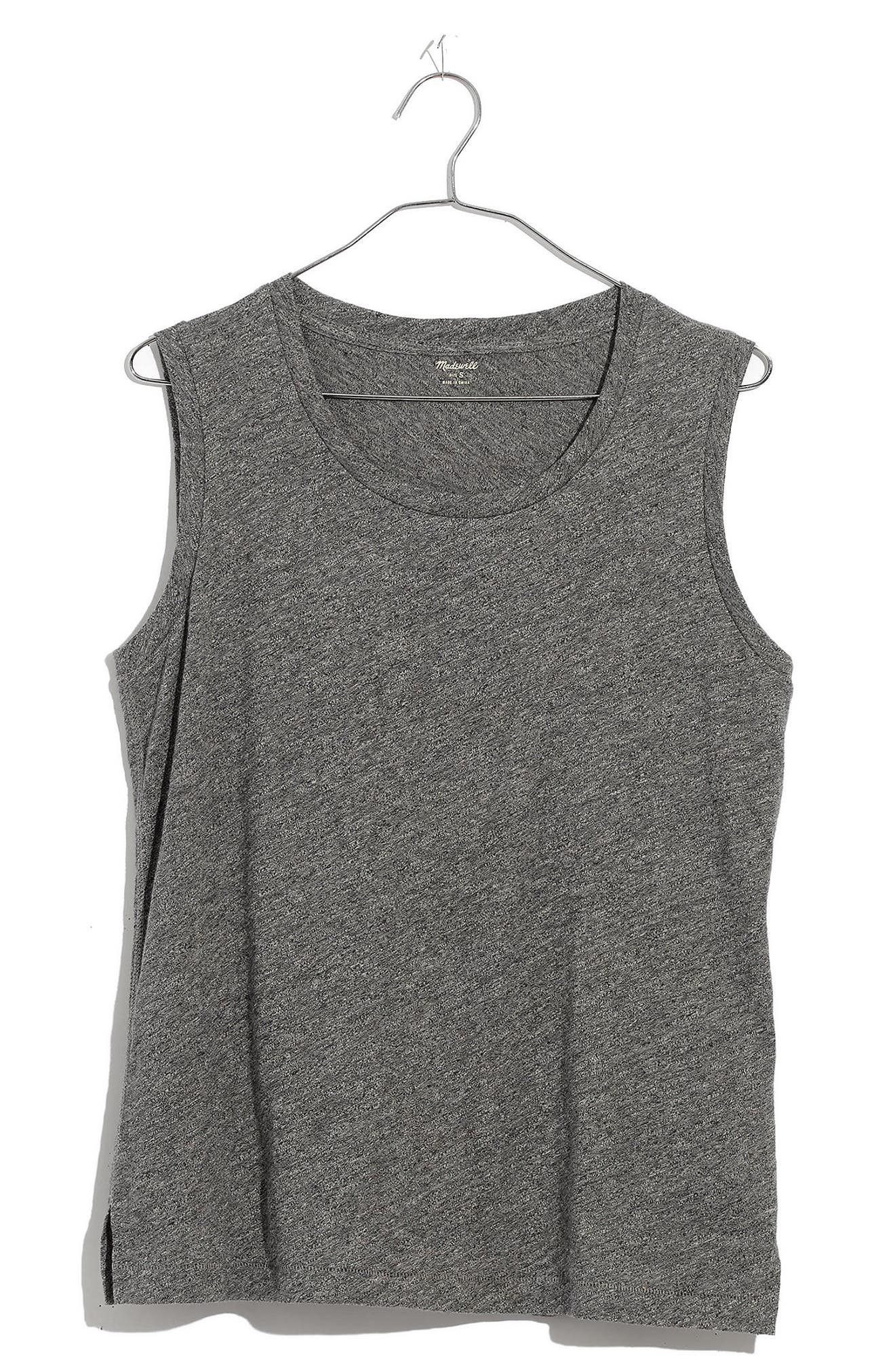 MADEWELL,                             Whisper Cotton Crewneck Muscle Tank,                             Main thumbnail 1, color,                             HEATHER MERCURY