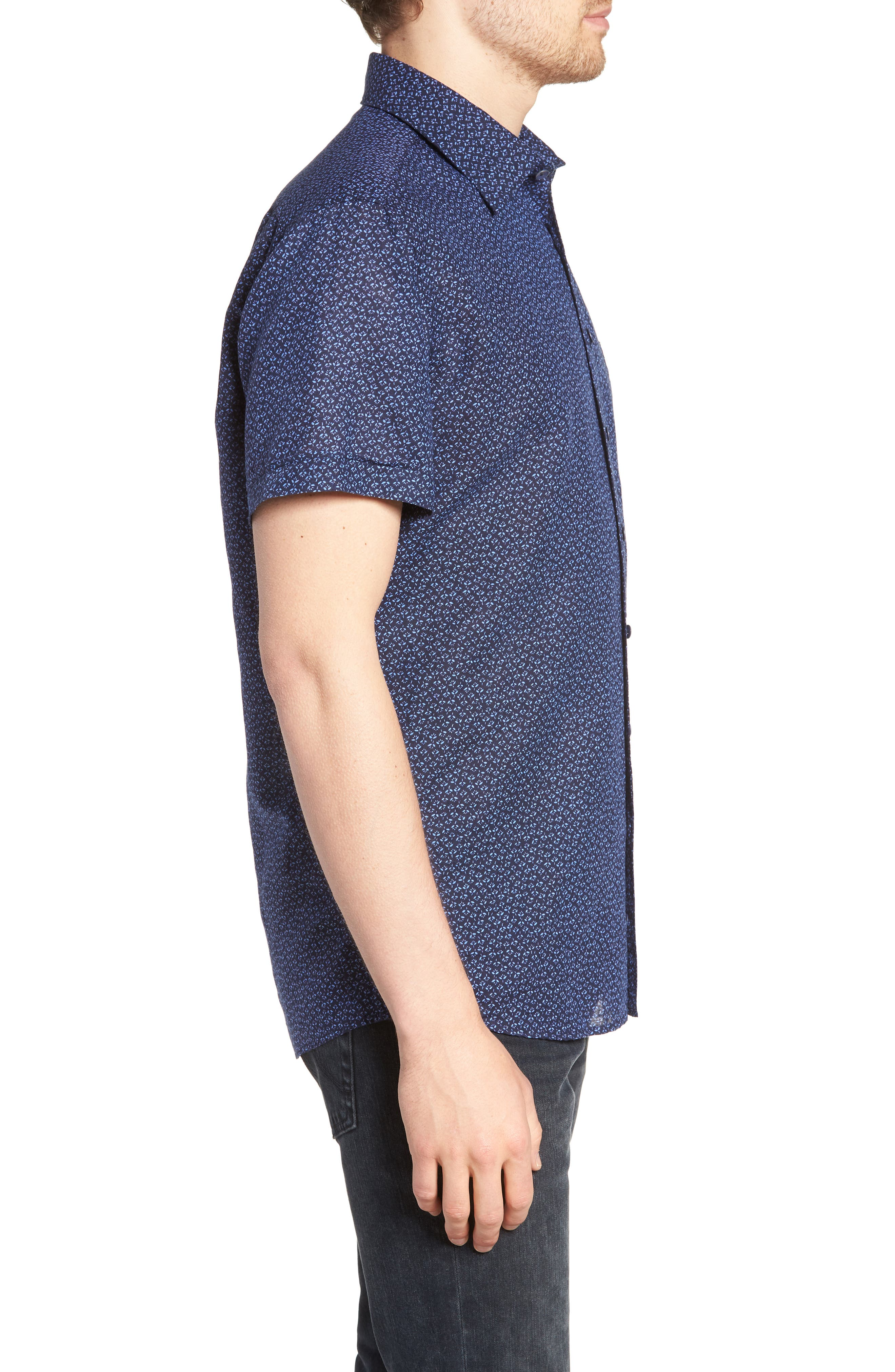 Windermere Linen & Cotton Sport Shirt,                             Alternate thumbnail 3, color,                             INDIGO