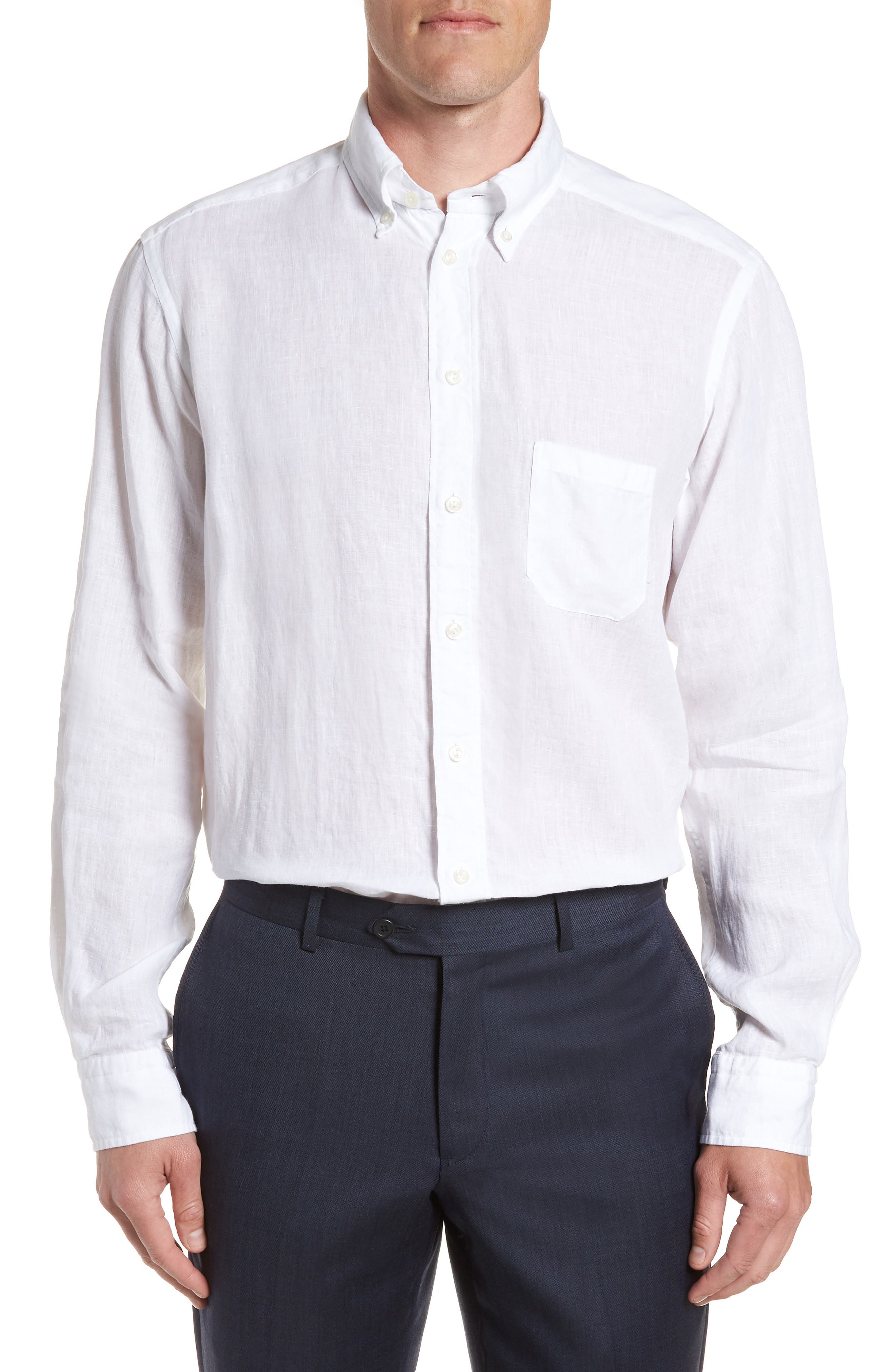 Contemporary Fit Solid Linen Dress Shirt,                             Main thumbnail 1, color,                             WHITE