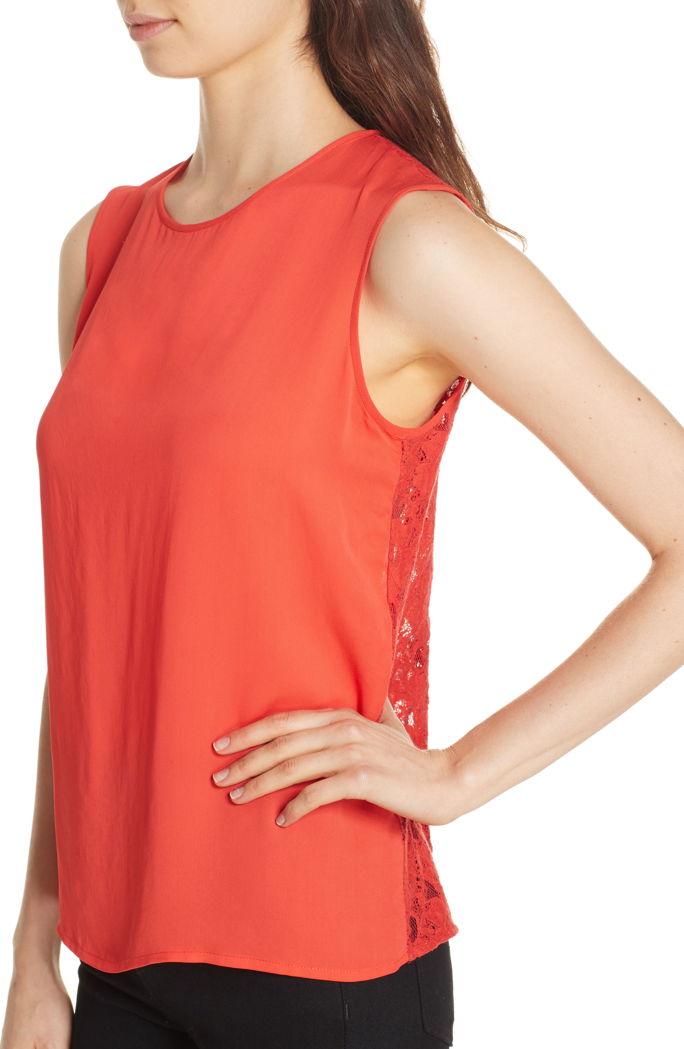 Mixed Media Lace Back Tank,                             Alternate thumbnail 4, color,                             CORAL RED