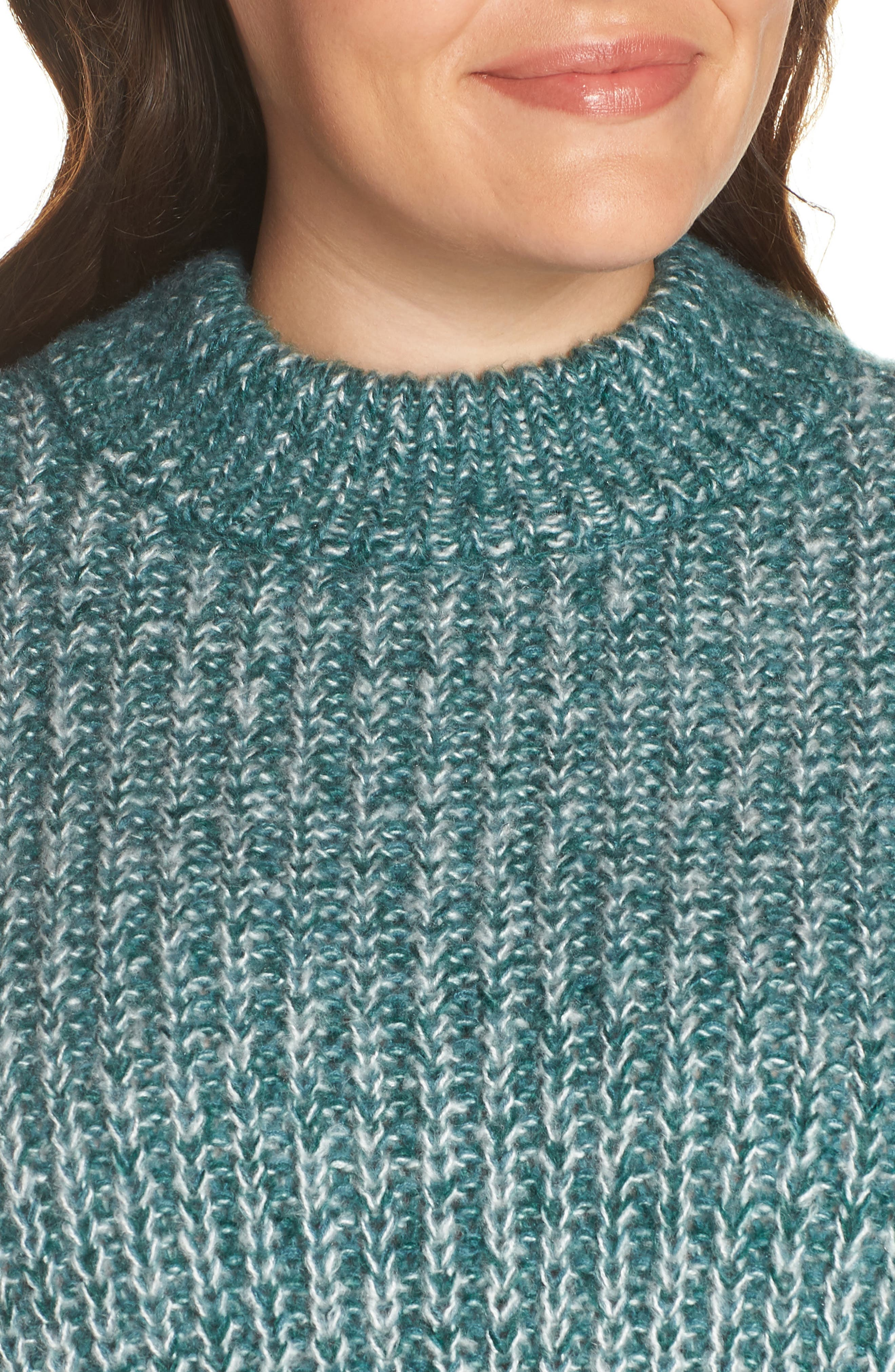 Marl Knit Sweater,                             Alternate thumbnail 4, color,                             TEAL HYDRO
