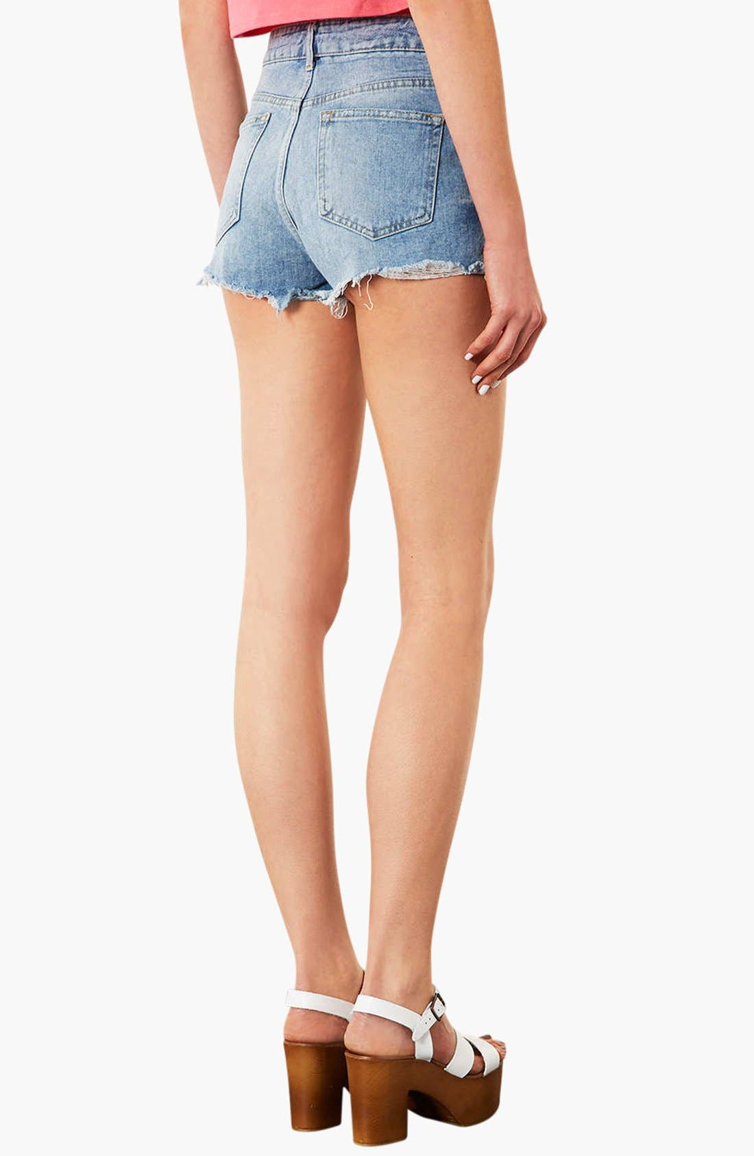 TOPSHOP,                             Moto 'Ruthie' Distressed Denim Shorts,                             Alternate thumbnail 2, color,                             420