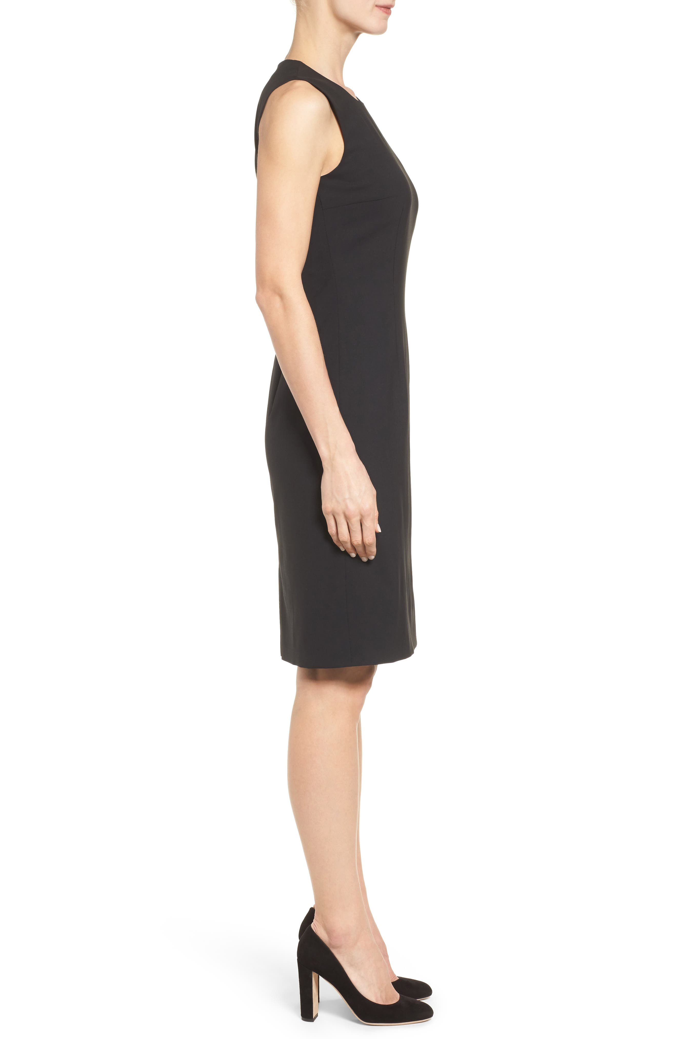 Dirusa Tropical Stretch Wool Dress,                             Alternate thumbnail 3, color,                             BLACK