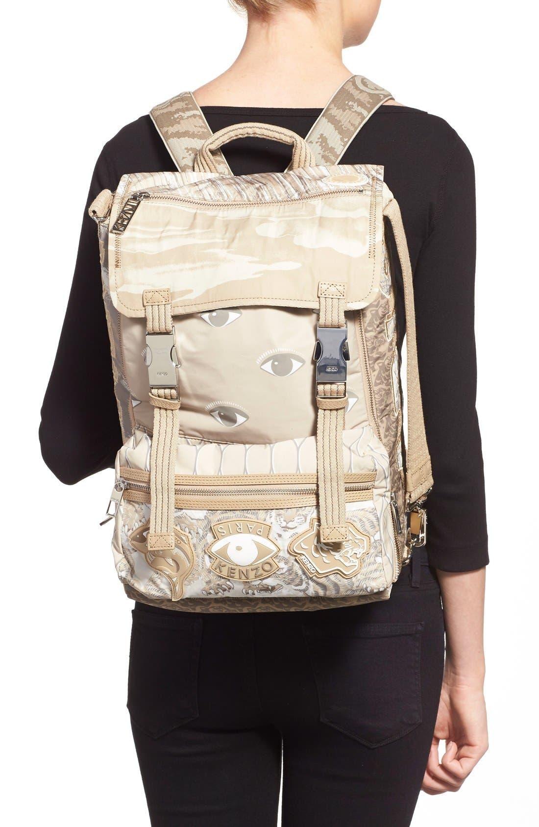 'Multi Icons' Printed Nylon Backpack,                             Alternate thumbnail 4, color,                             250
