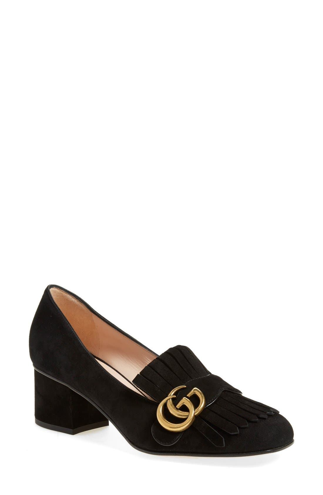 GG Marmont Pump,                             Main thumbnail 1, color,                             BLACK SUEDE