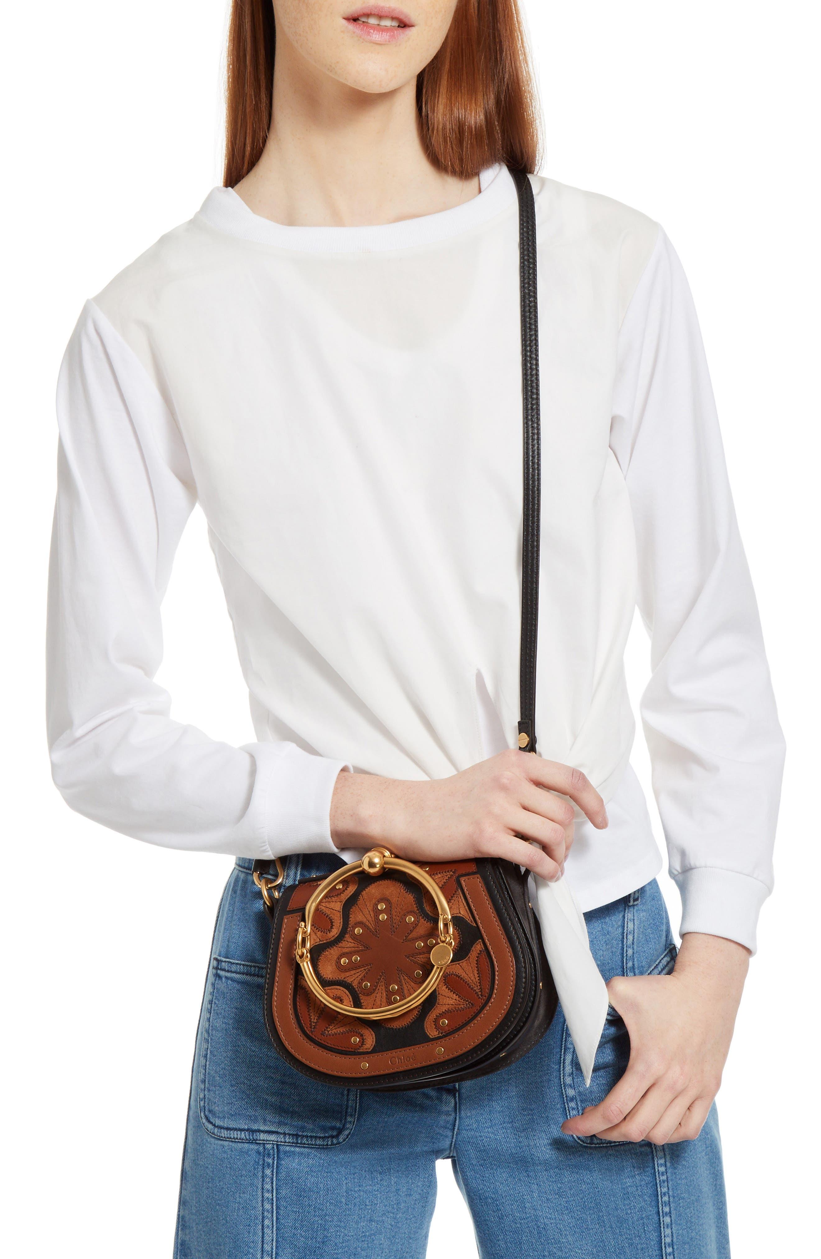 Small Nile Calfskin Leather Bracelet Bag,                             Alternate thumbnail 2, color,                             BLACK