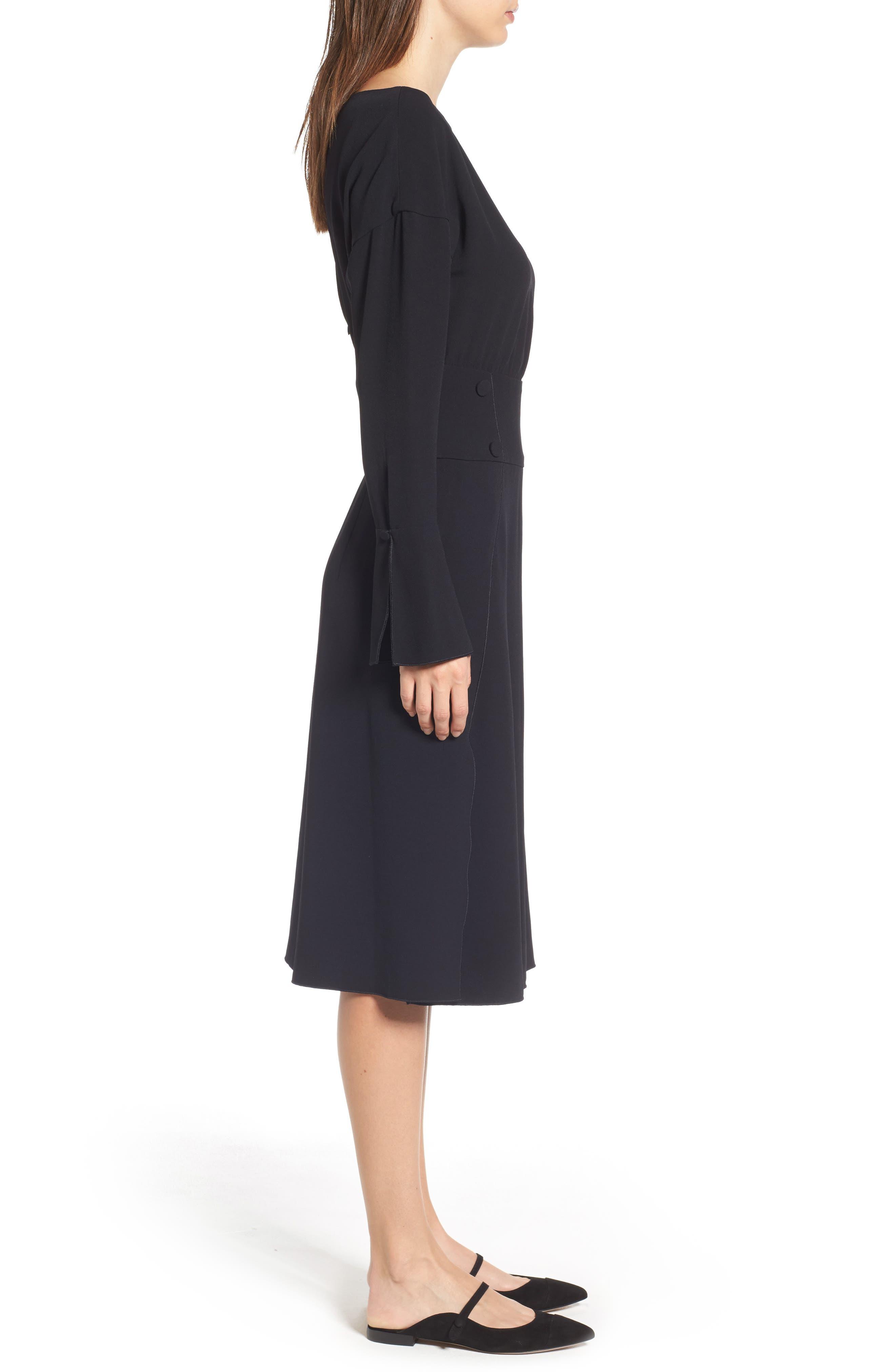 LEWIT,                             Button Detail Matte Crepe Midi Dress,                             Alternate thumbnail 3, color,                             001