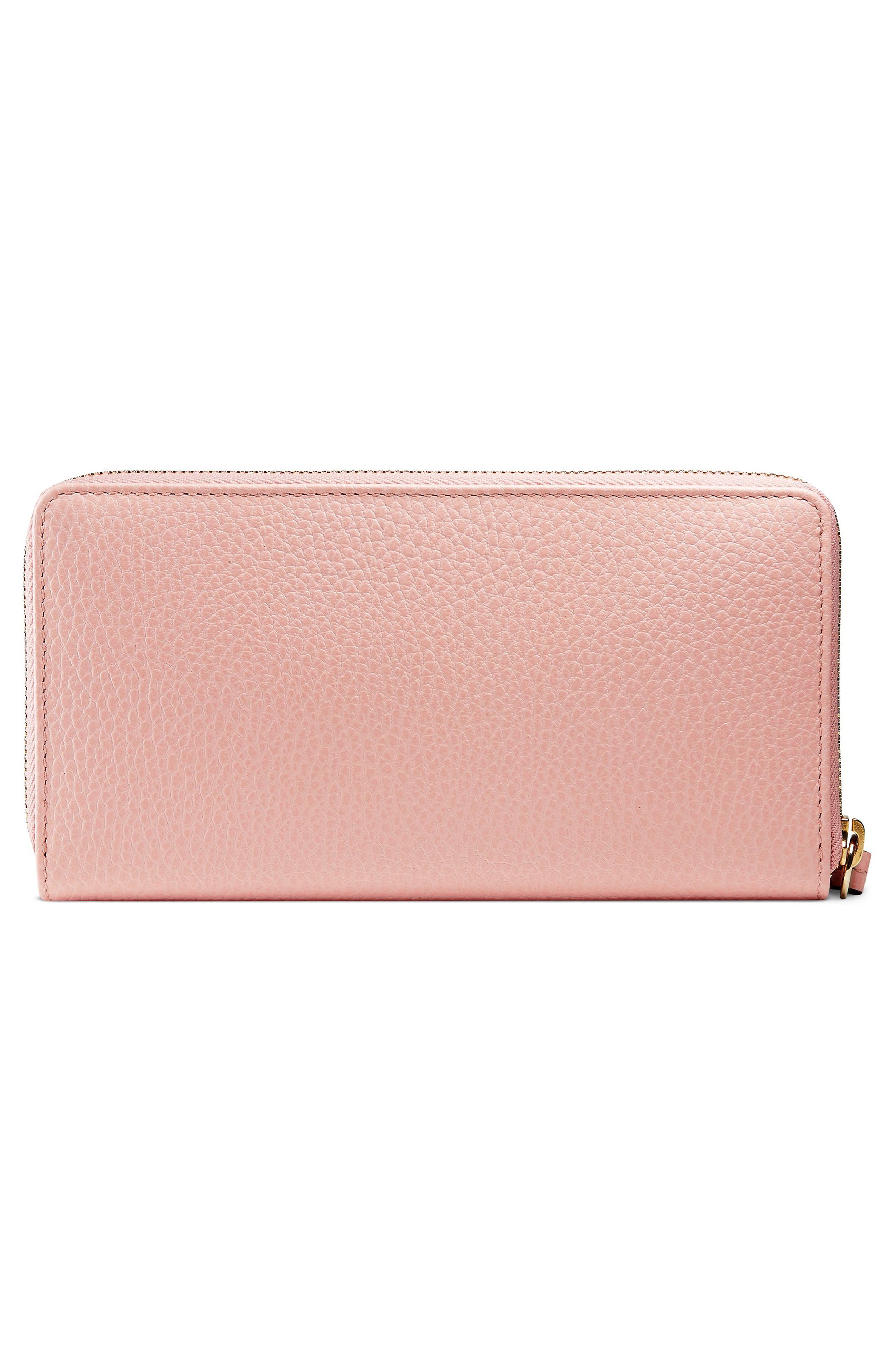 Petite Marmont Leather Zip Around Wallet,                             Alternate thumbnail 3, color,                             PERFECT PINK