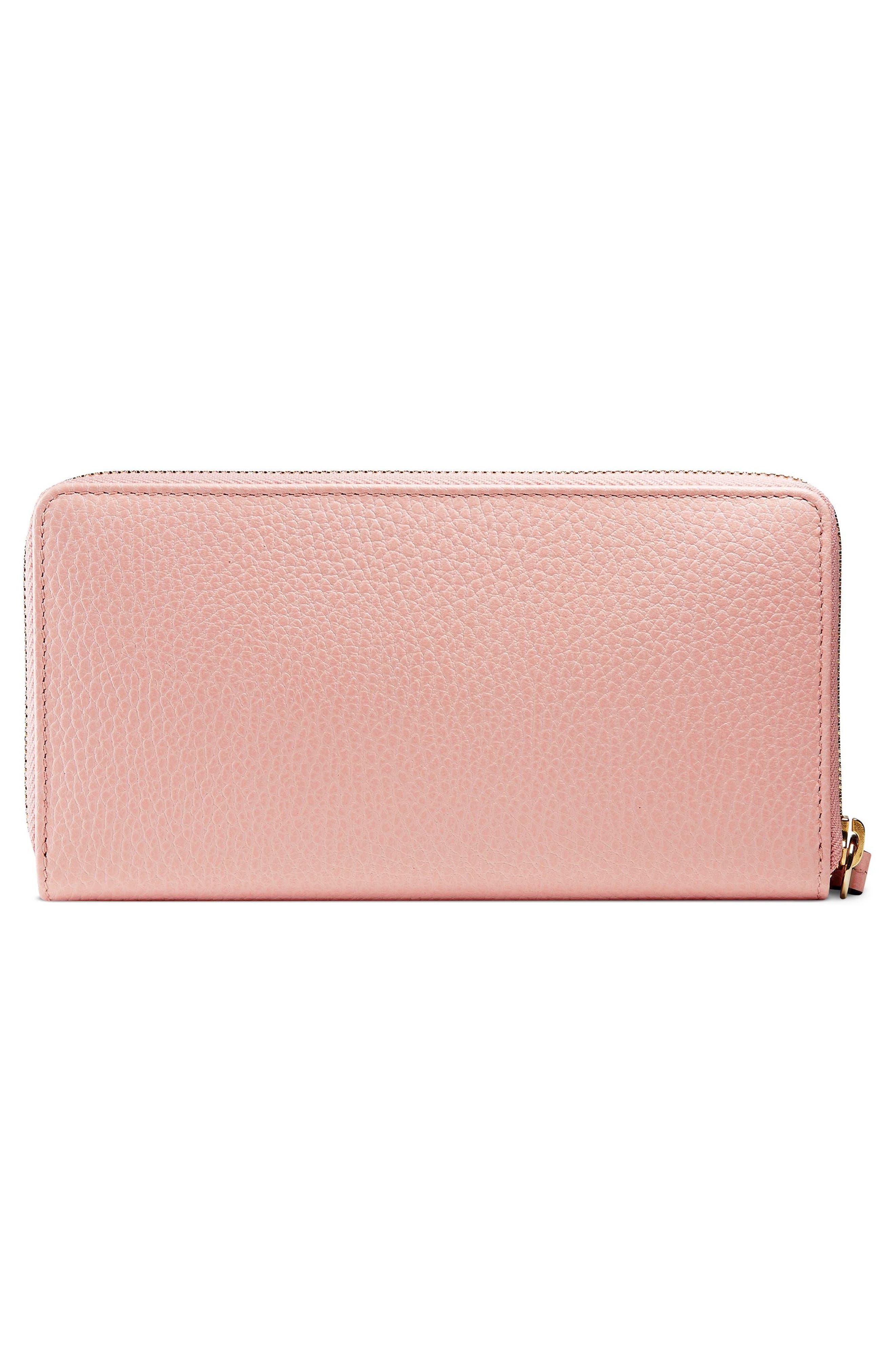 Petite Marmont Leather Zip Around Wallet,                             Alternate thumbnail 3, color,                             650