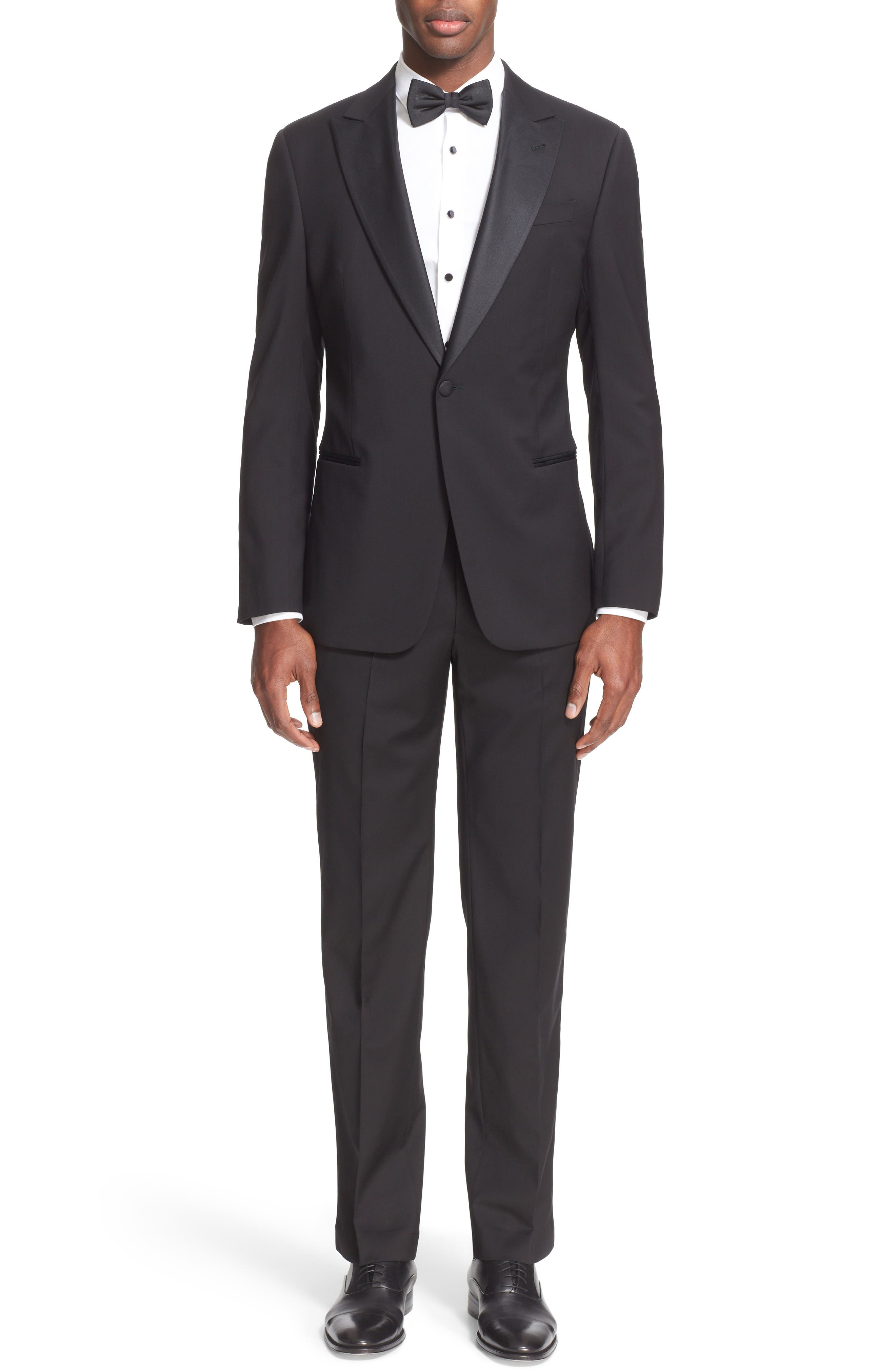 Trim Fit Wool Tuxedo,                             Alternate thumbnail 2, color,                             001