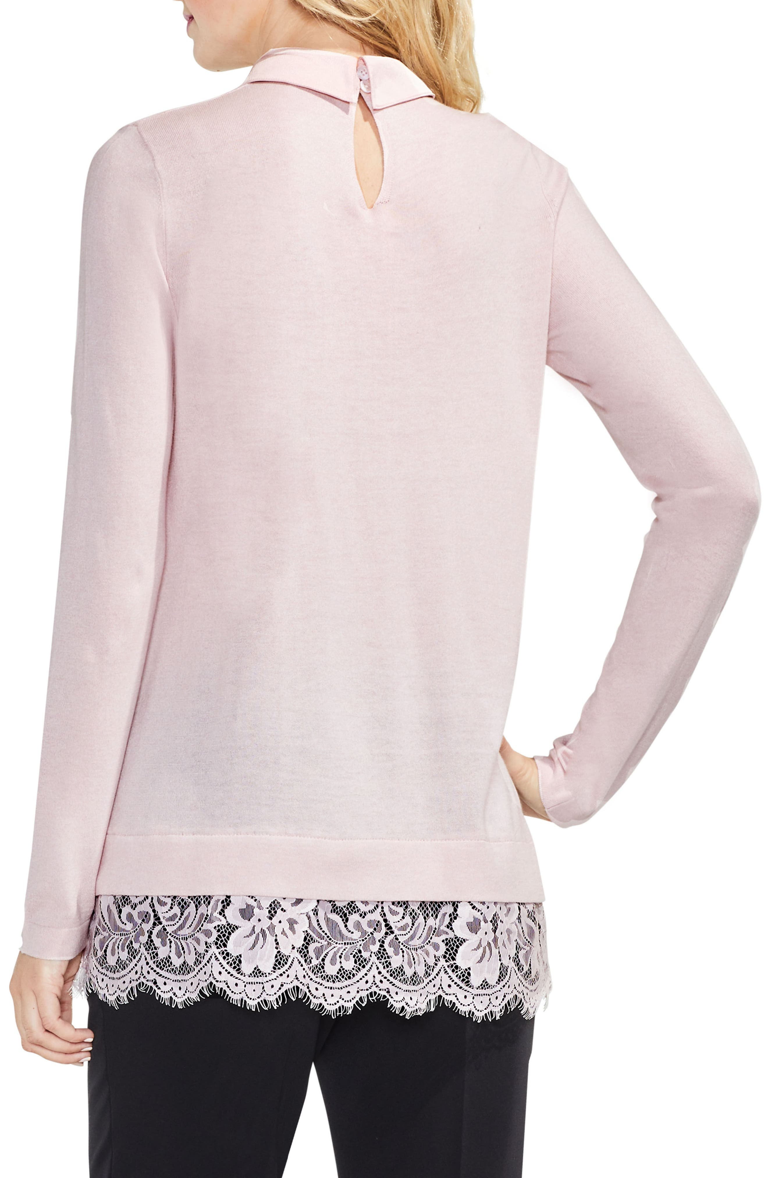 Lace Hem Collared Sweater,                             Alternate thumbnail 4, color,