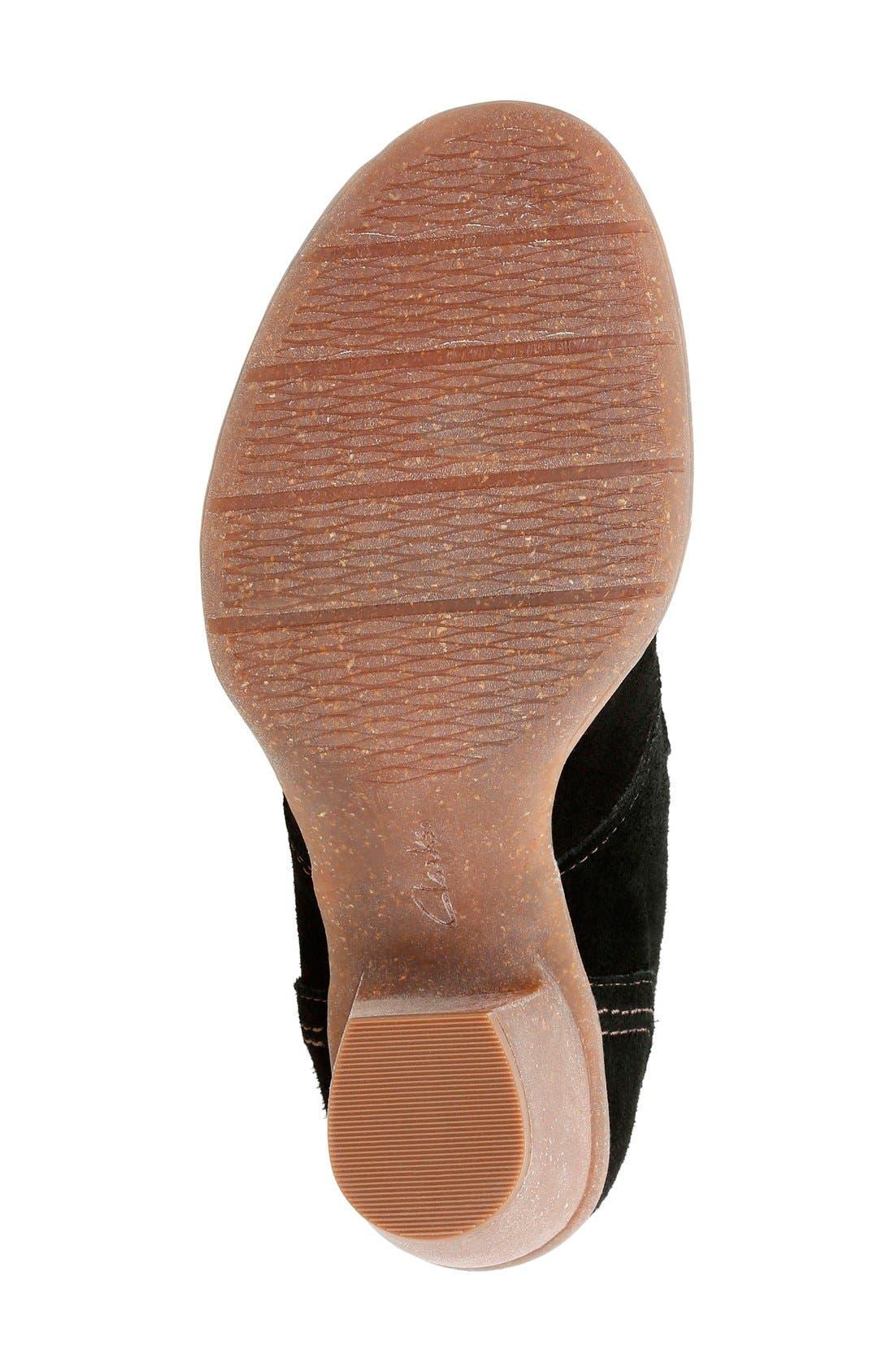 'Carleta Lyon' Ankle Boot,                             Alternate thumbnail 4, color,                             BLACK SUEDE