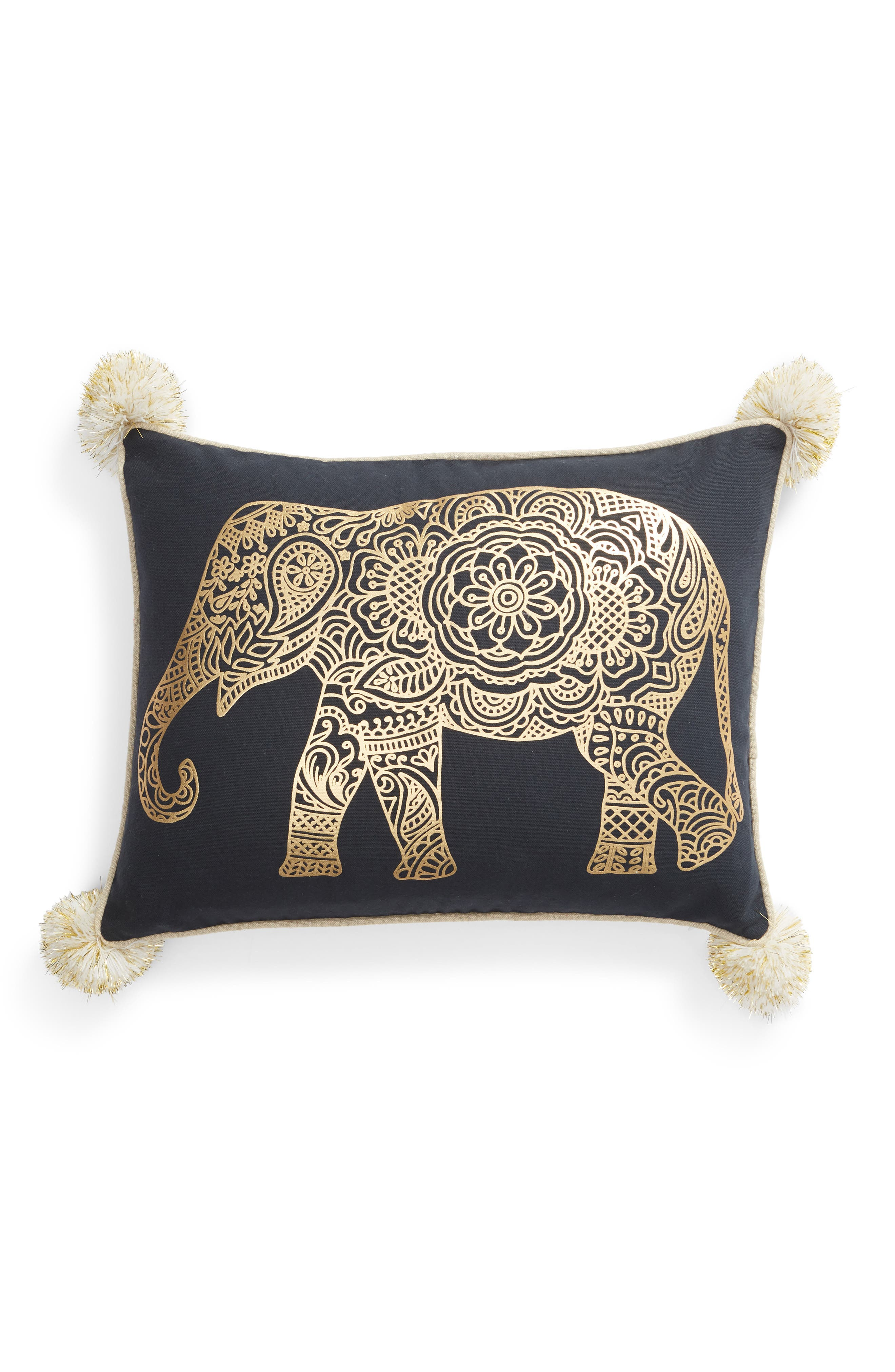 Emory Pom Elephant Accent Pillow,                             Main thumbnail 1, color,                             400