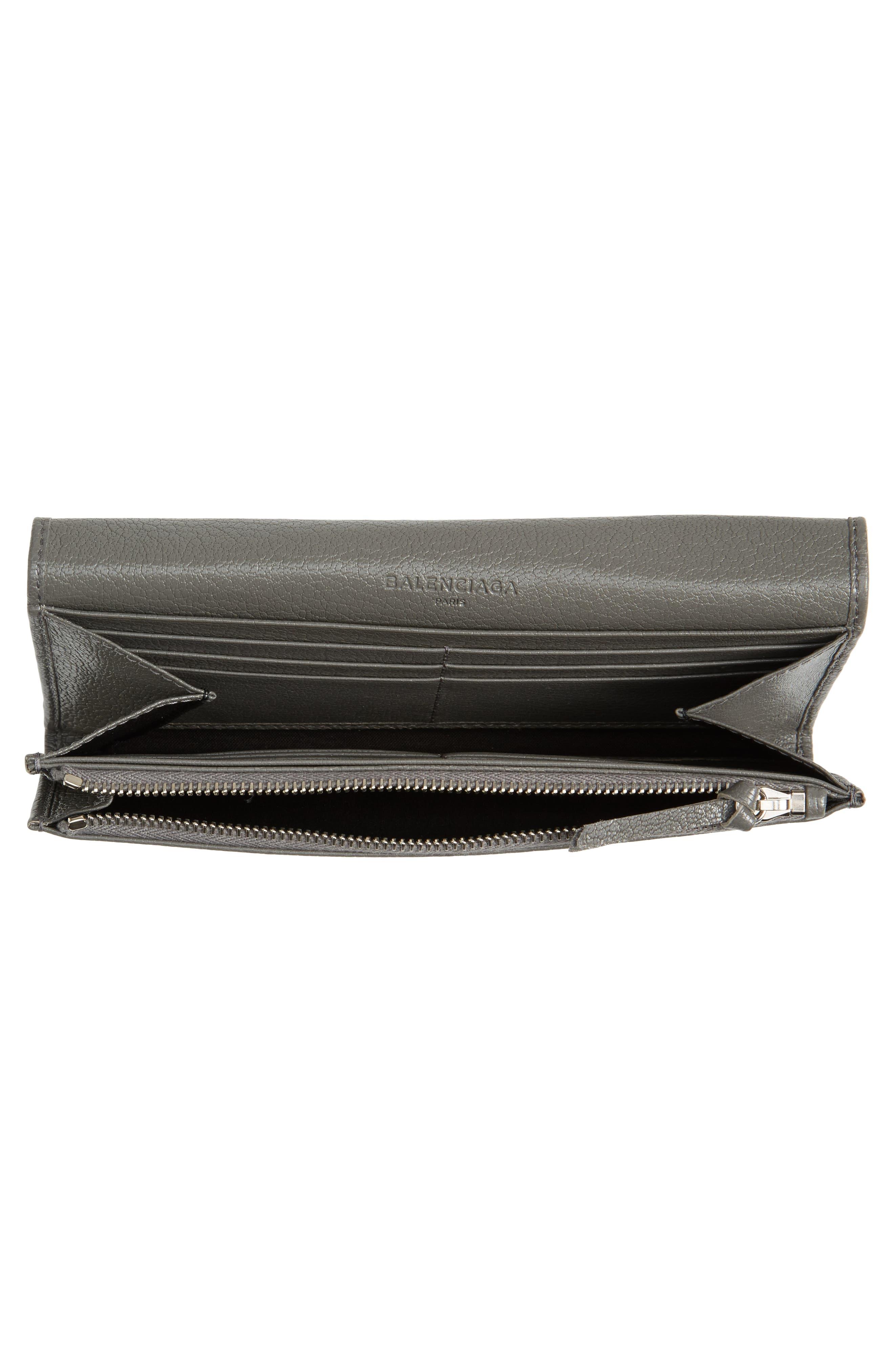 Metallic Edge Money Leather Wallet,                             Alternate thumbnail 4, color,                             GRIS ACIER