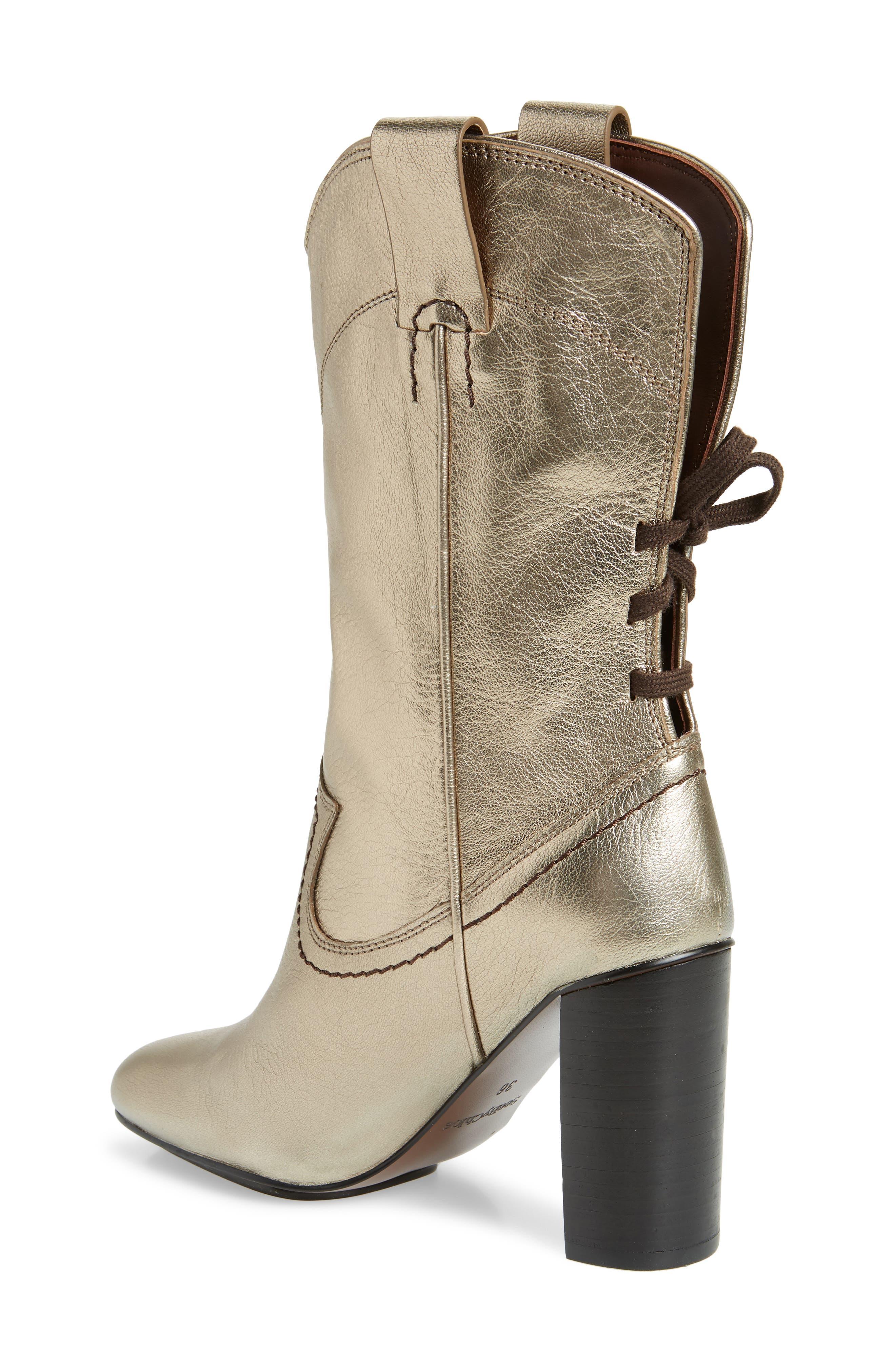 Annika Split Shaft Western Boot,                             Alternate thumbnail 2, color,                             ACCIAIO