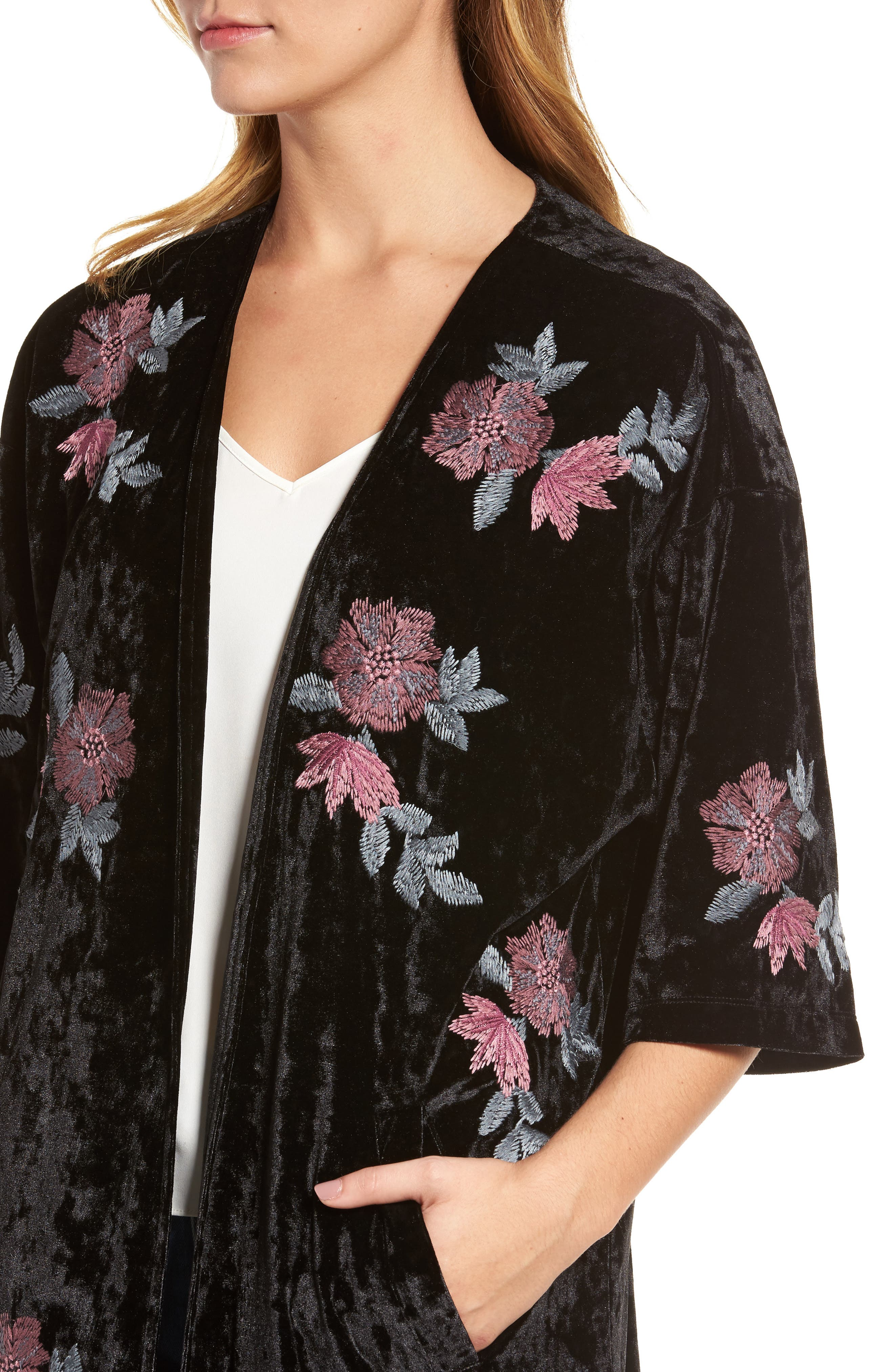 Floral Velvet Long Jacket,                             Alternate thumbnail 4, color,                             001
