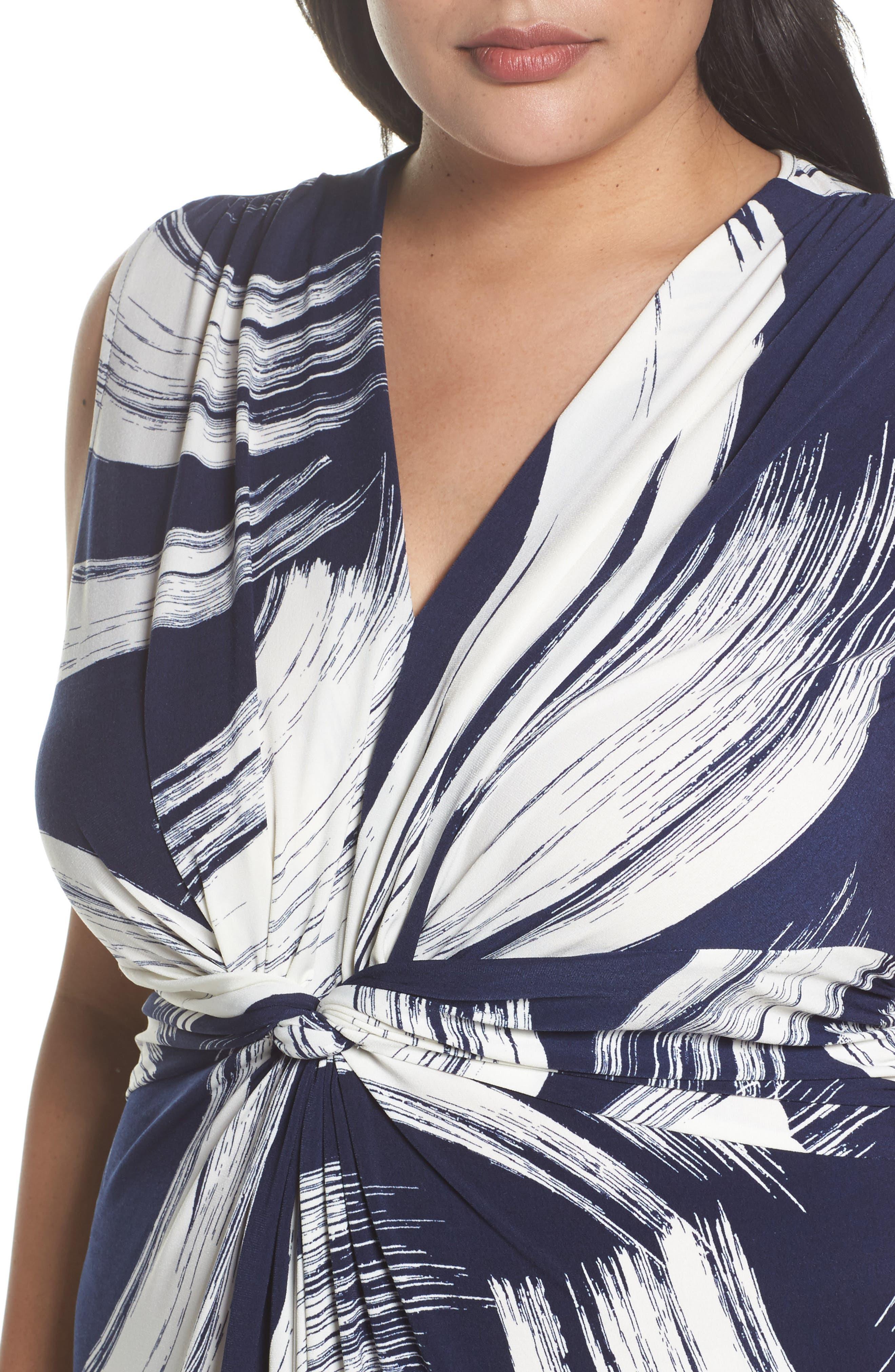 Brush Print Jersey Maxi Dress,                             Alternate thumbnail 4, color,                             407