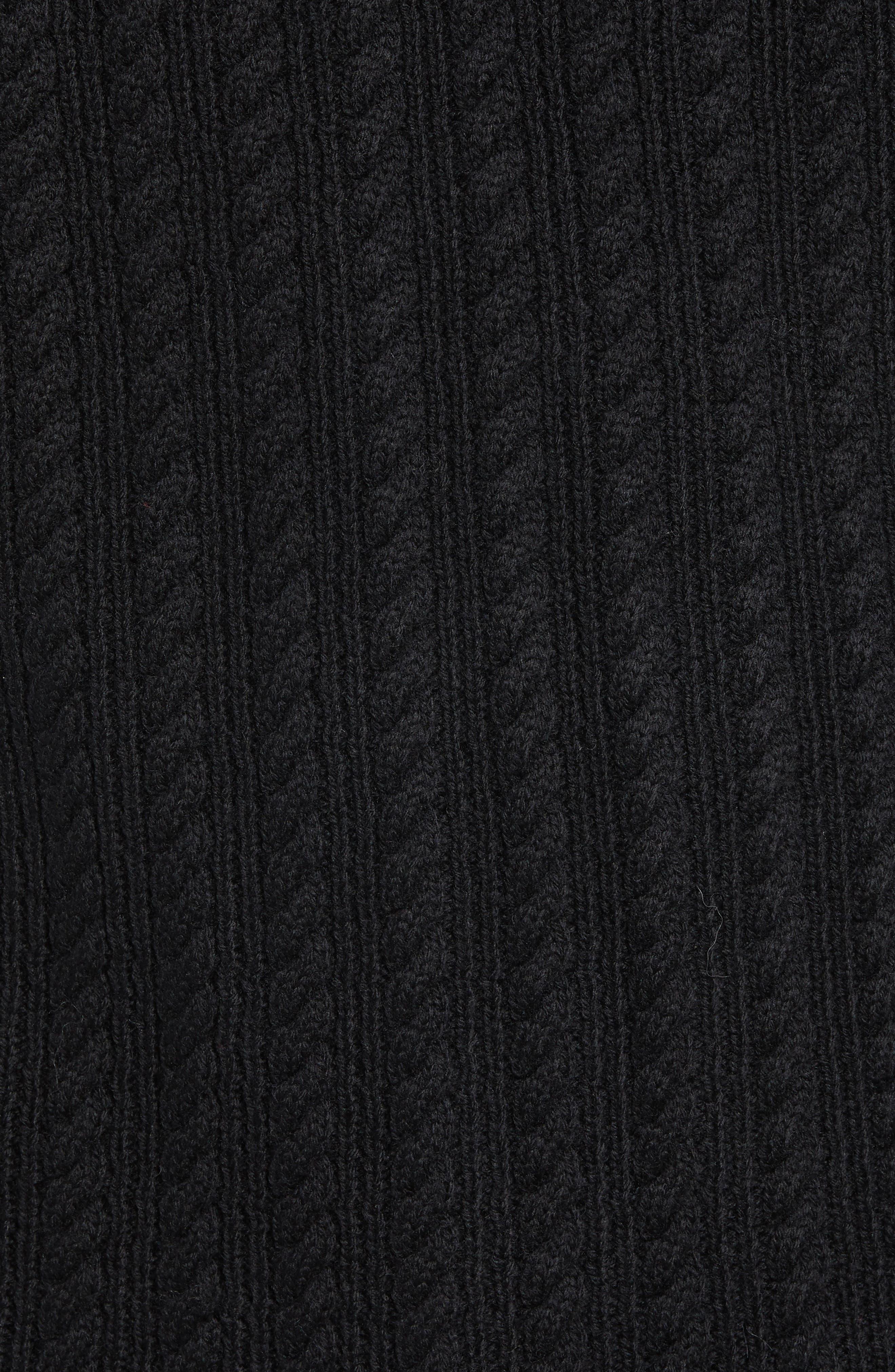 Block Merino Wool Cable Knit Sweater,                             Alternate thumbnail 5, color,                             BLACK CAVIAR COLORBLOCK