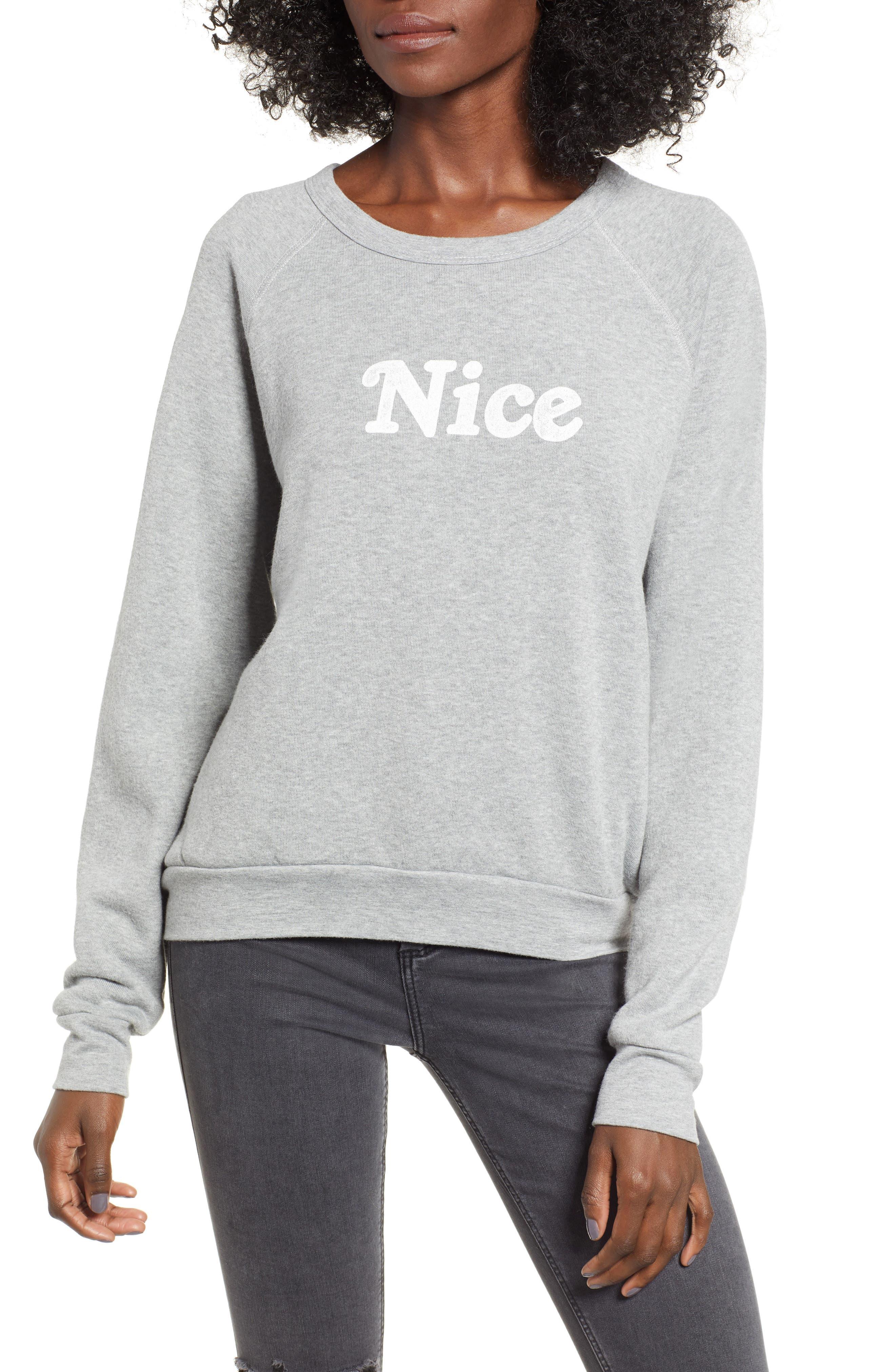 PROJECT SOCIAL T Naughty/Nice Reversible Sweatshirt in Heather Grey