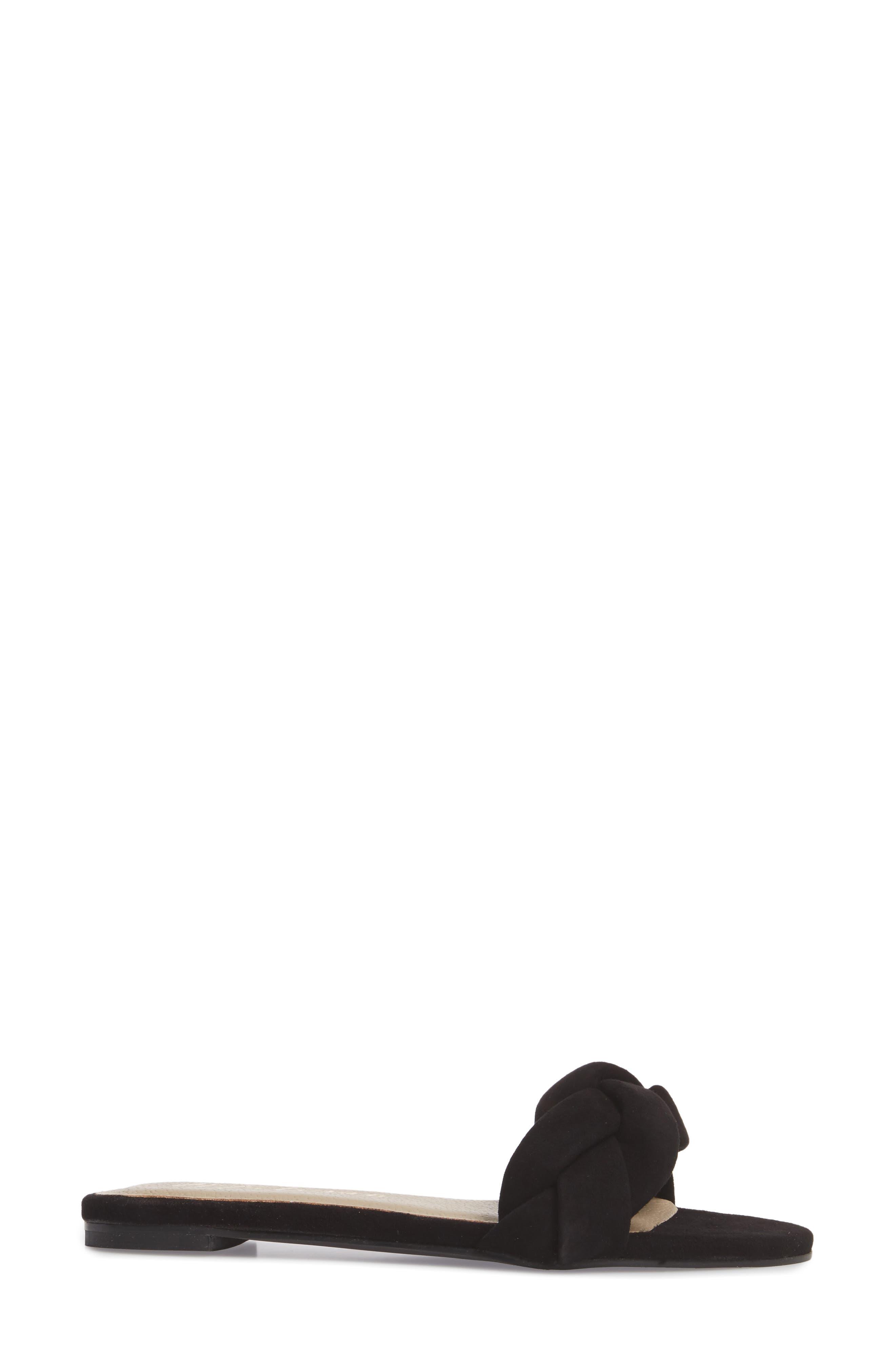 Georgie Slide Sandal,                             Alternate thumbnail 3, color,                             BLACK SUEDE