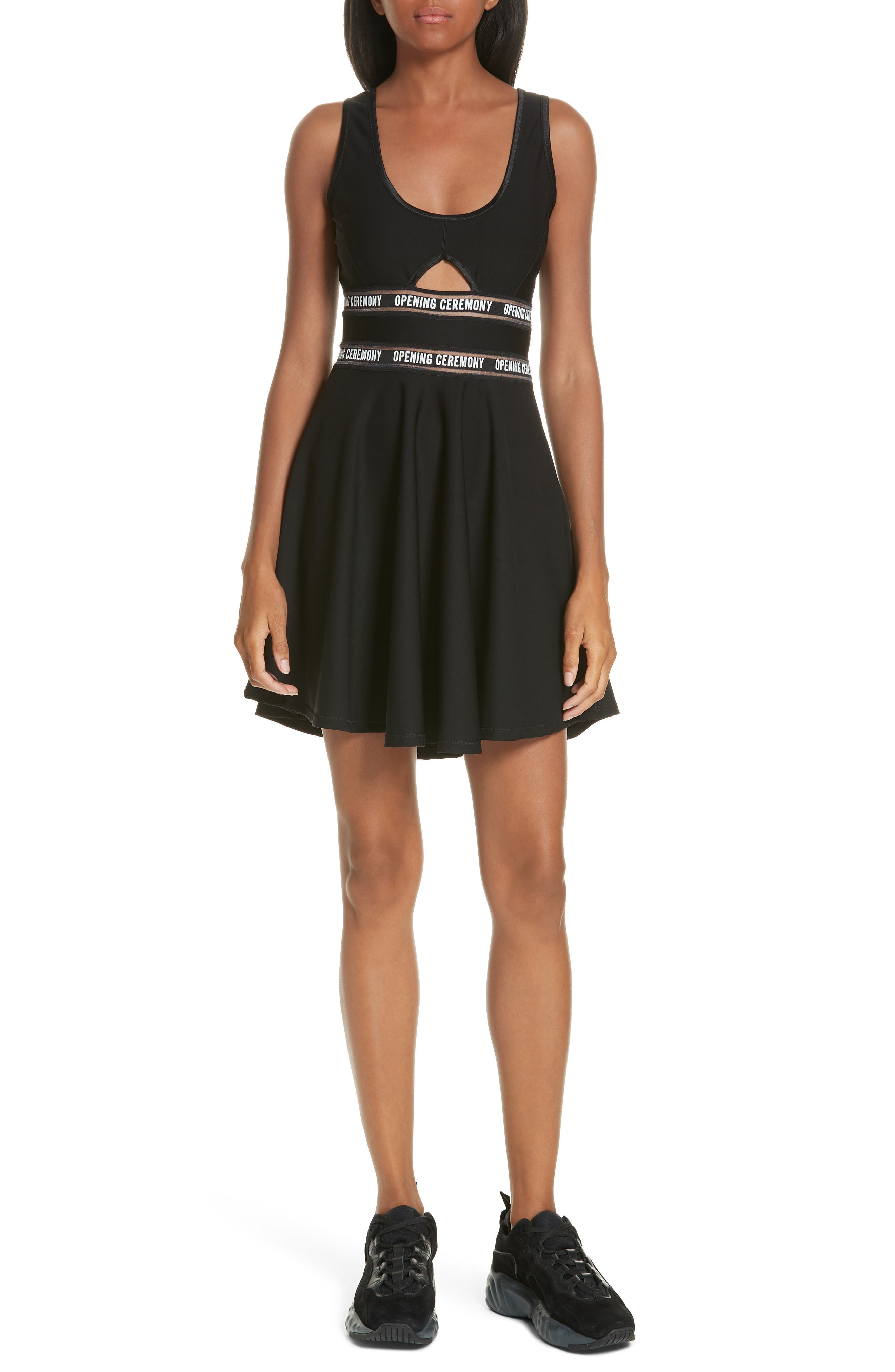 Logo Waist Cutout Fit & Flare Dress,                         Main,                         color, BLACK